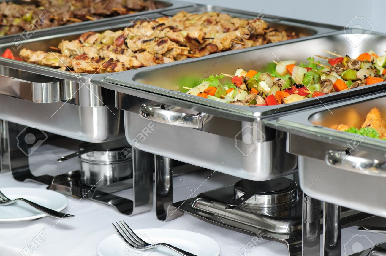 banquet table with chafing dish heaters - 4659177