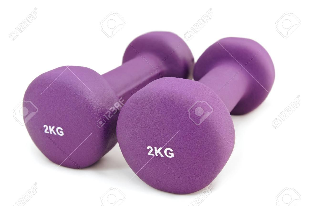 2 Kg Rubber Dipped Purple Dumbbell Selective Focus Stock P O 11418306