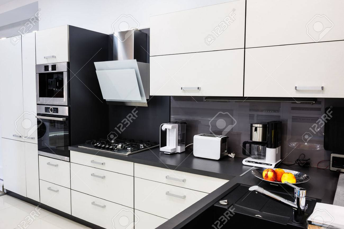 Modern Luxury Hi Tek Black And White Kitchen Interior Clean Stock