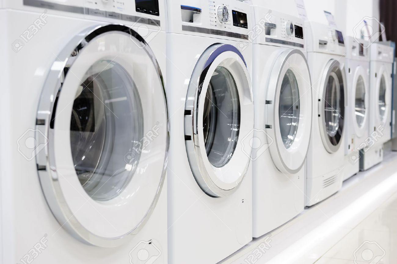 Washing machines, dryer and other domestic appliance equipment in the store - 50147663