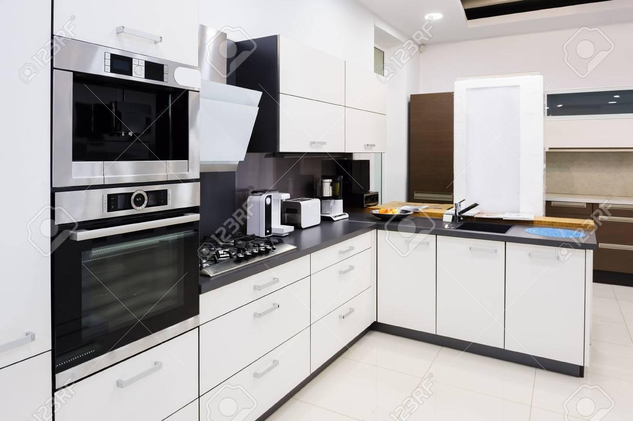 Modern Luxury Hi Tek Black And White Kitchen Interior Clean Stock