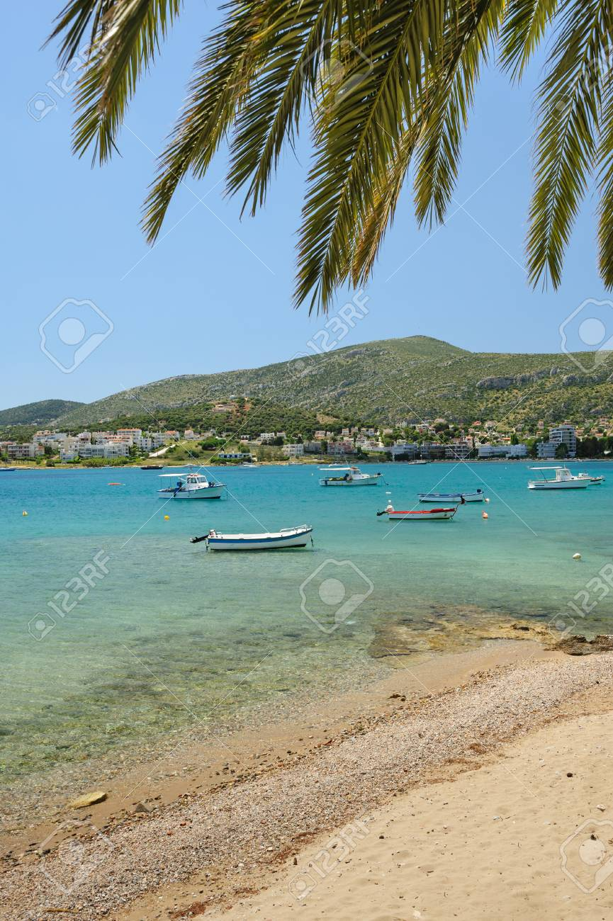 porto rafti harbor view with beach and fisher boats during