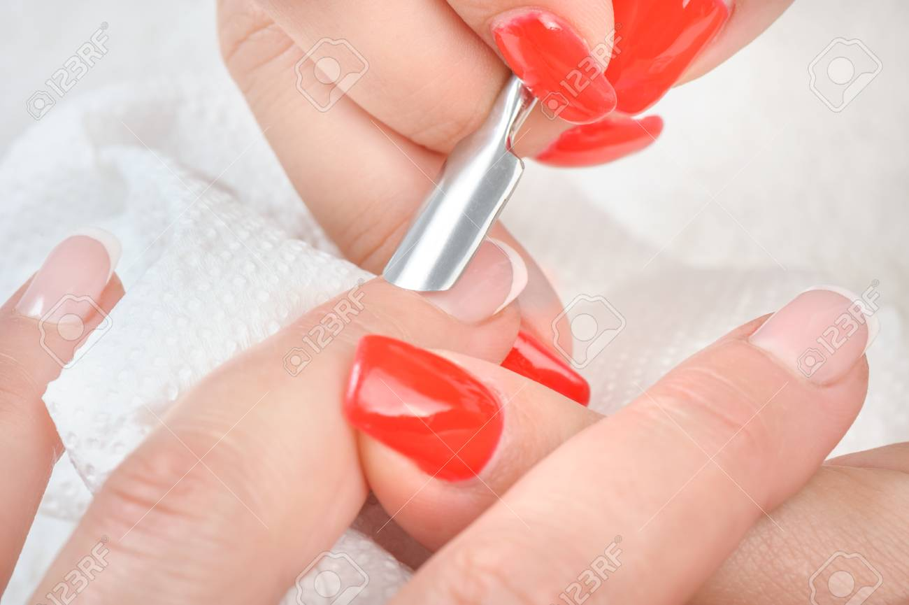 Nail Salon, Hands Beauty Treatment, Cuticles Care With Metal.. Stock ...