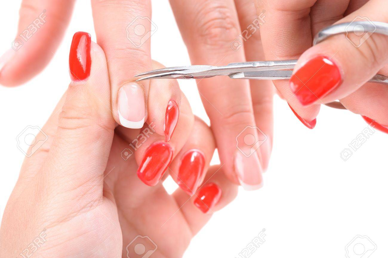 Nail Salon, Hands Beauty Treatment, Cuticles Cutting With Cuticle ...