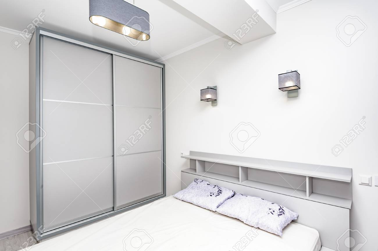 Simple White Empty Bedroom Interior Stock Photo Picture And Royalty