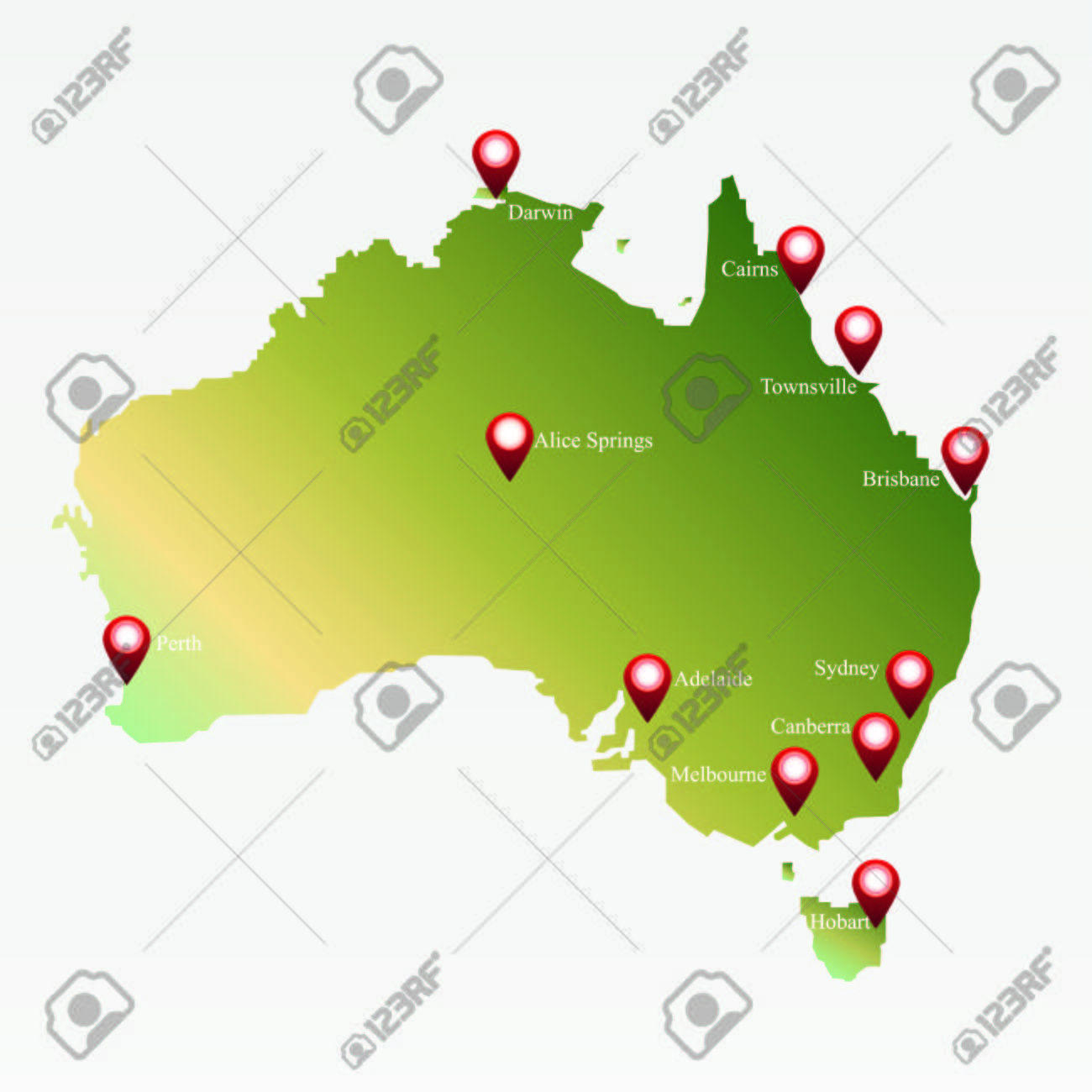 australia map with markers on the map of big cities stock vector 48863643