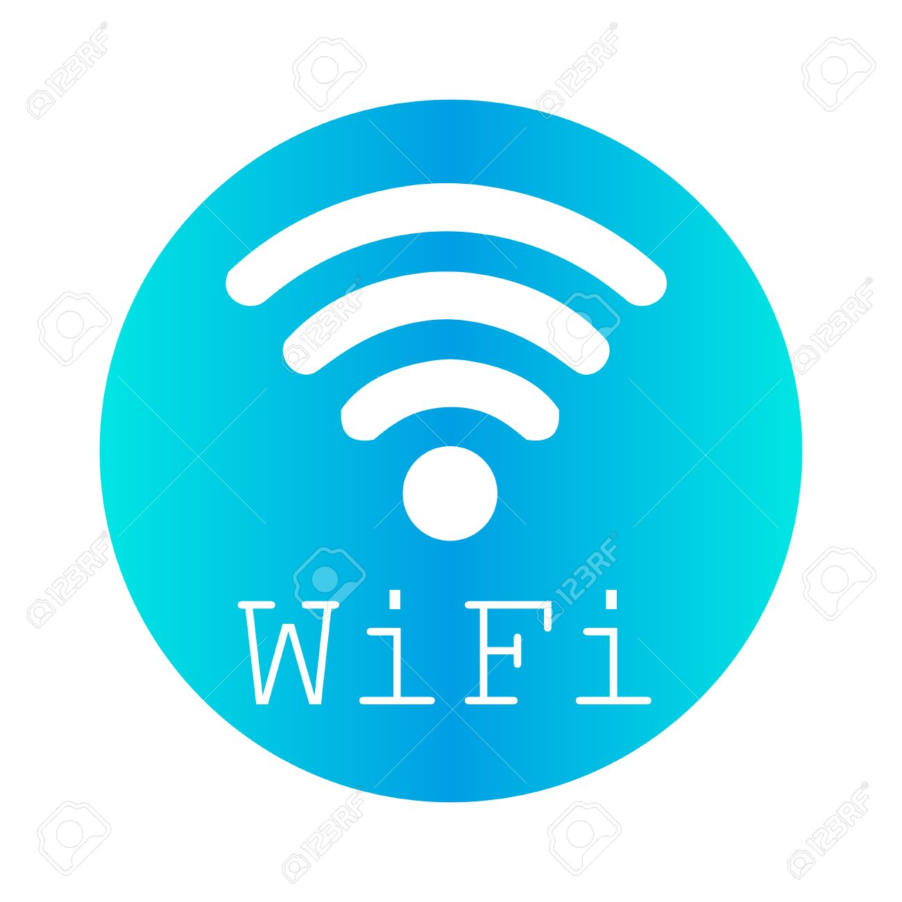 wifi logo on a blue circle on a white background royalty free