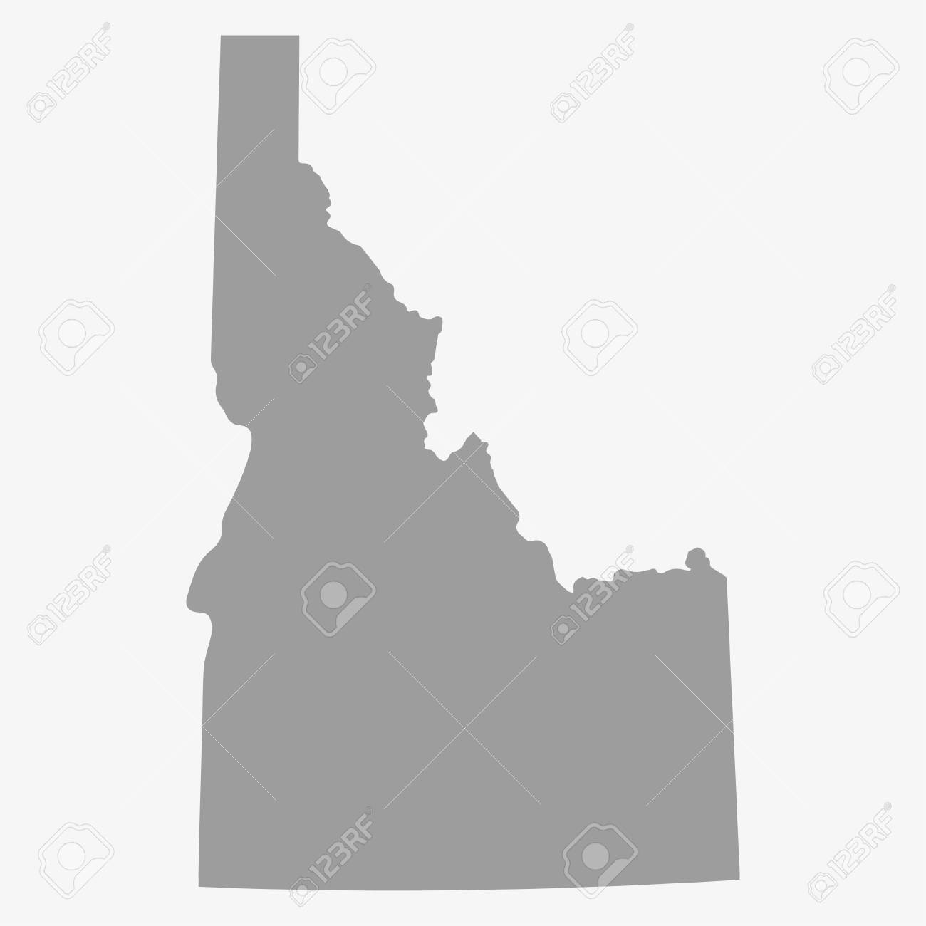 Map Idaho State In Gray On A White Background Royalty Free Cliparts