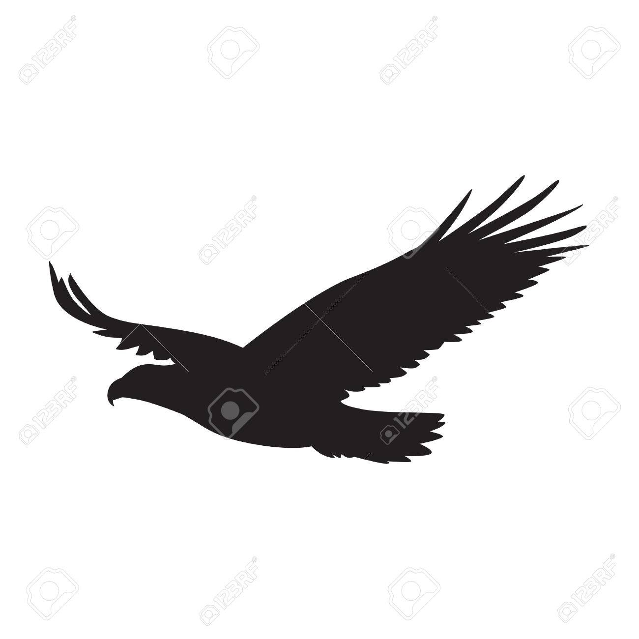 Vector silhouette of the Bird of Prey in flight with wings spread - 59461100
