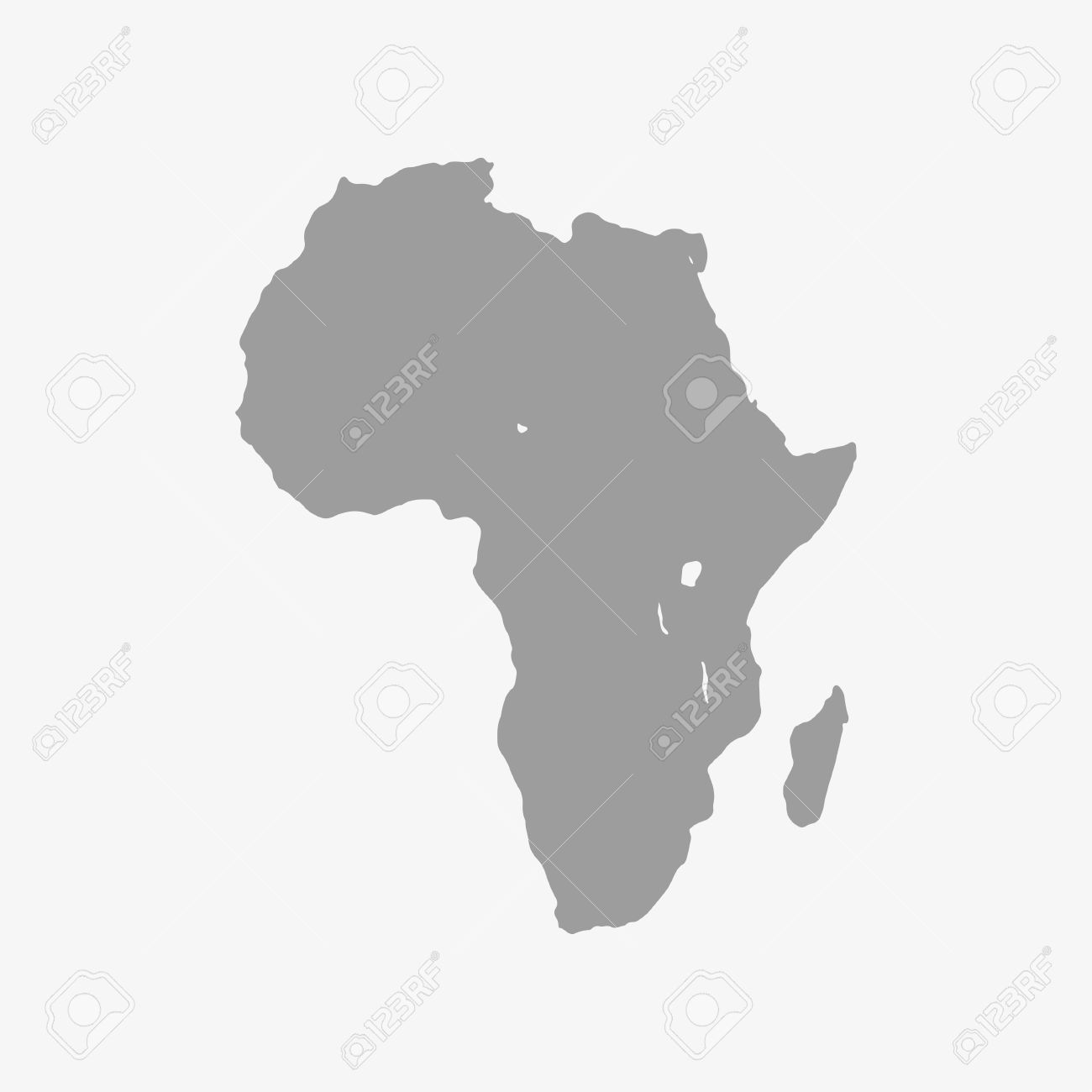 Map Of Africa Continent In Gray On A White Background Royalty Free