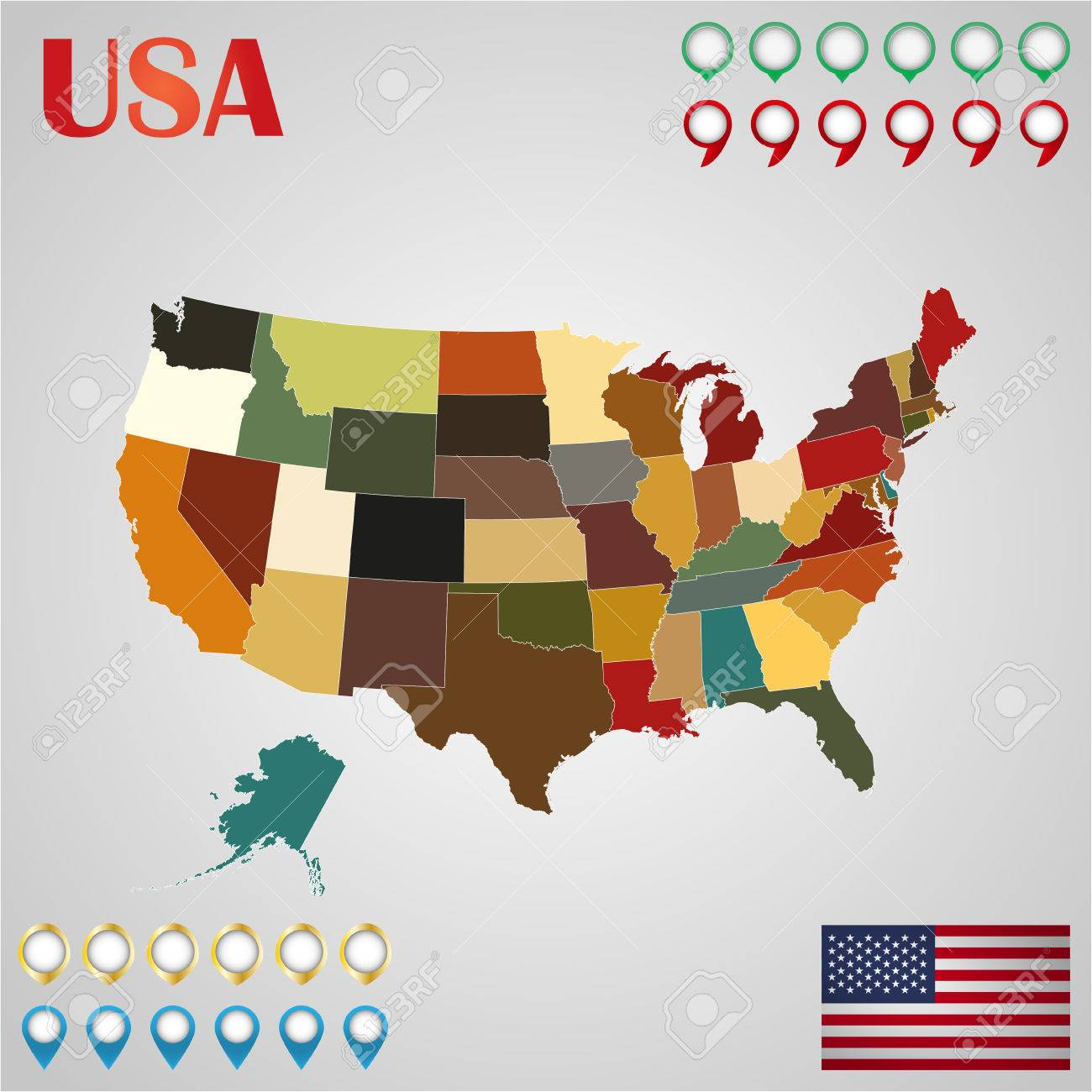 United States Map With Separated States Flag And Geo Royalty Free - Free united states map graphic