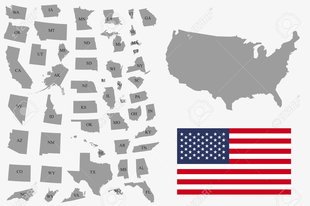 Set Of Gray USA States On White Background Vector Illustration - Simplue us map states