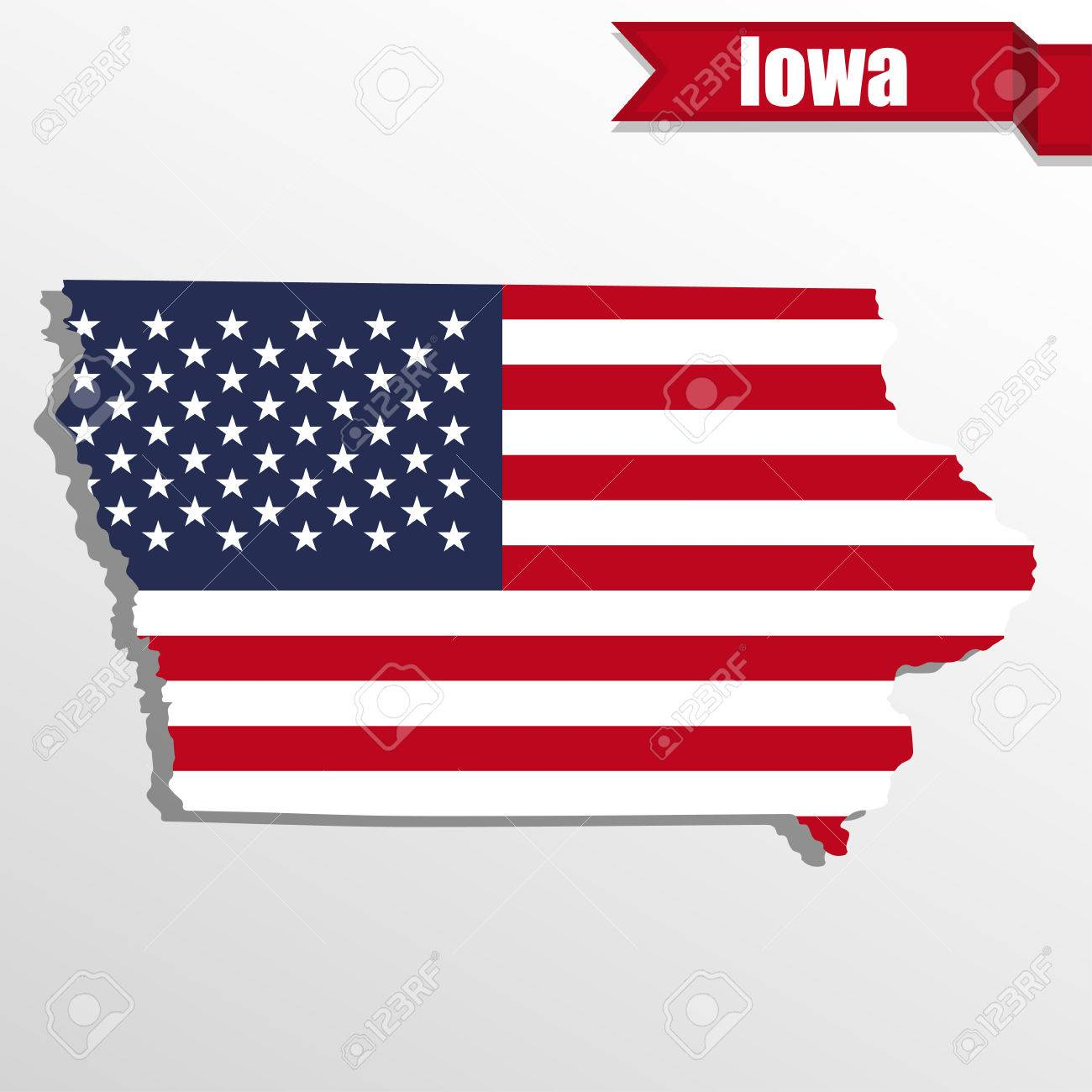 iowa state map with us flag inside and ribbon stock vector 59467590
