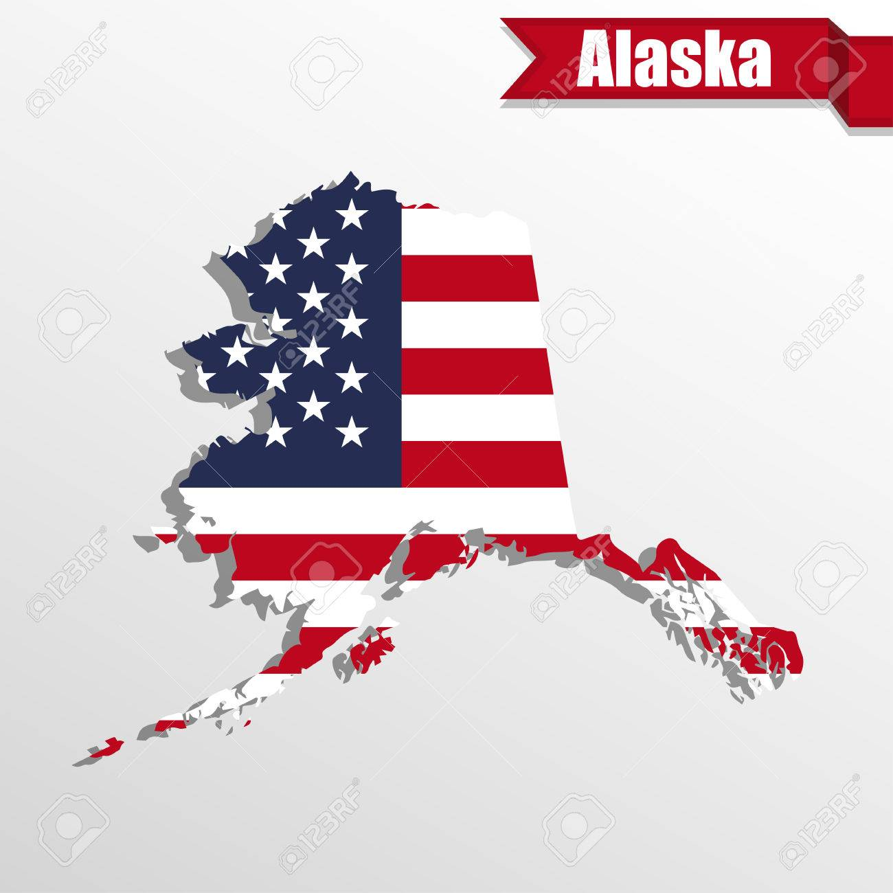 Alaska State Map With US Flag Inside And Ribbon Royalty Free ...