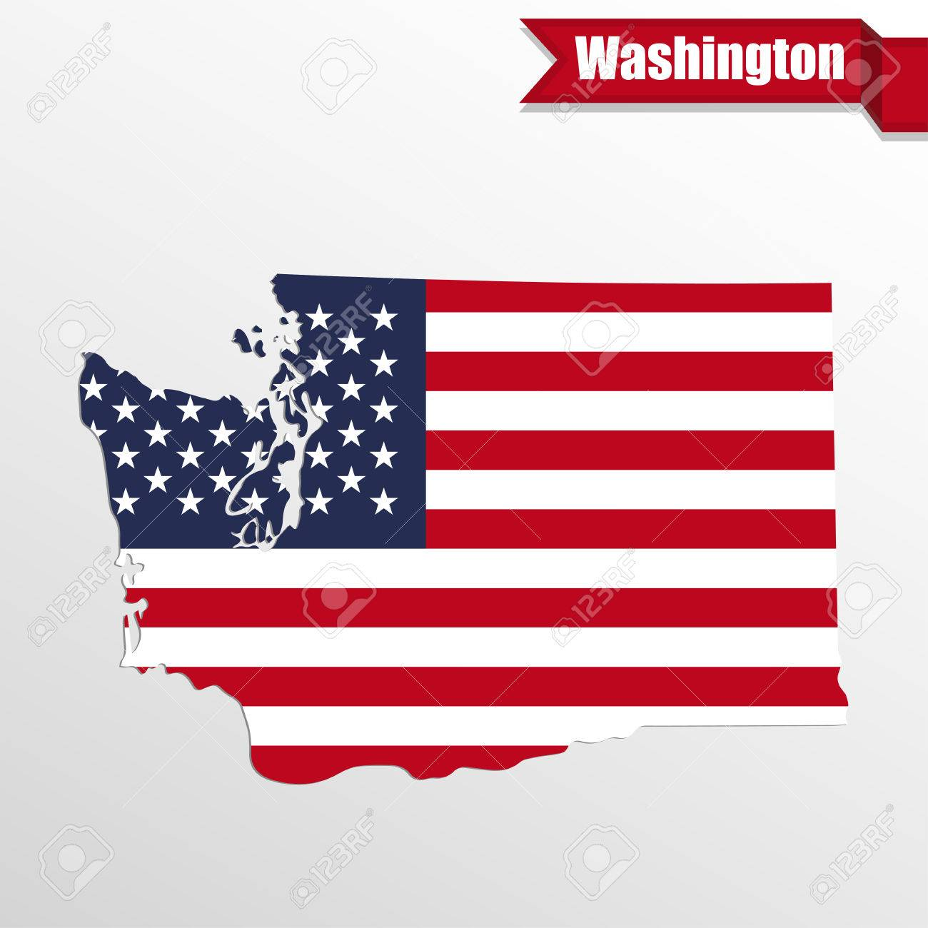 washington state map with us flag inside and ribbon royalty free rh 123rf com vector usa flag abstract vector us flag distressed