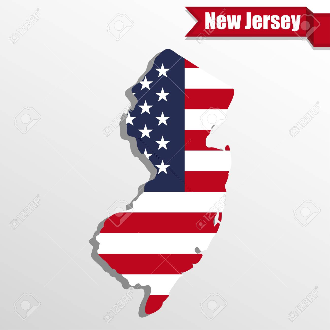 New Jersey State Map With Us Flag Inside And Ribbon Royalty Free