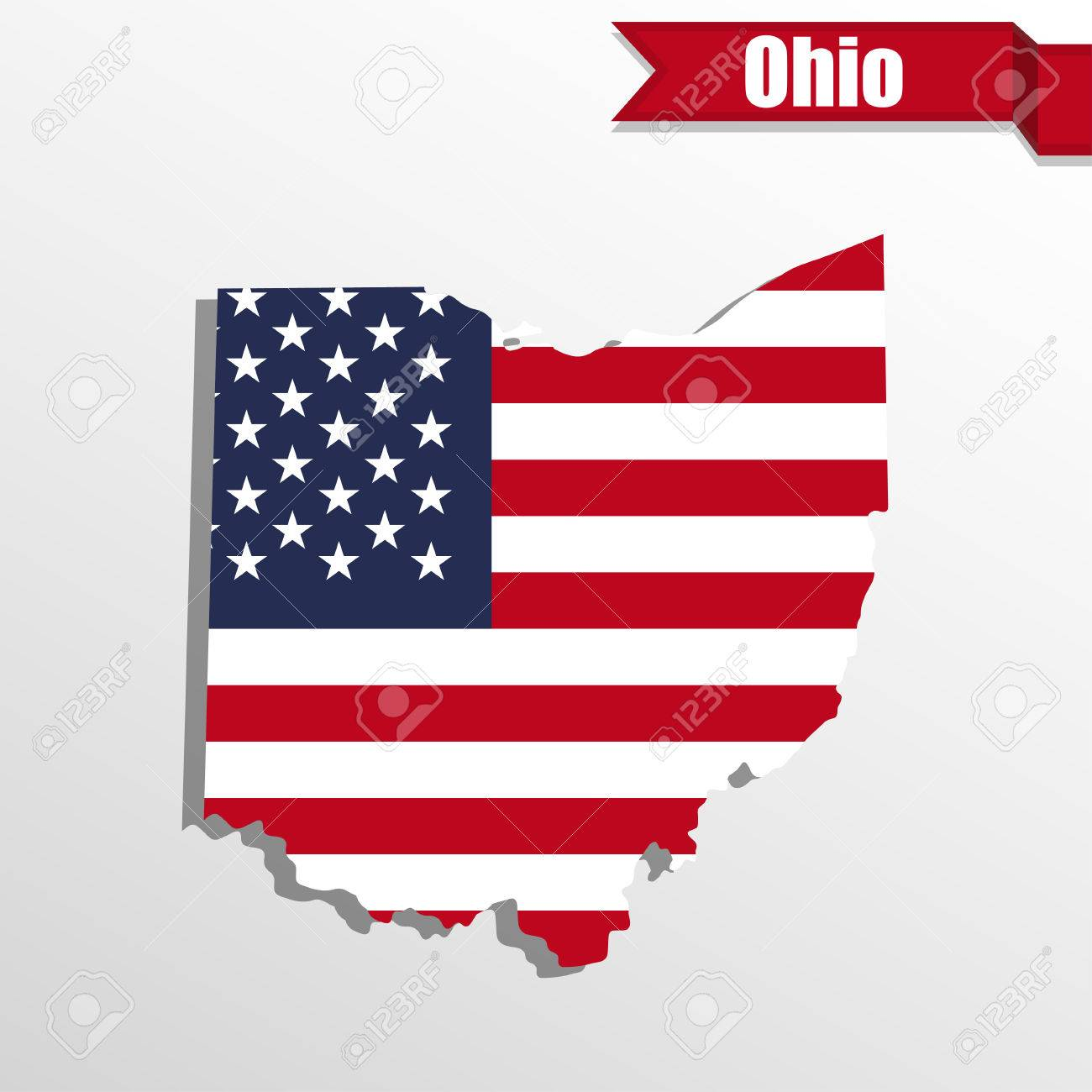 Ohio State Map With Us Flag Inside And Ribbon Stock Vector 59467559