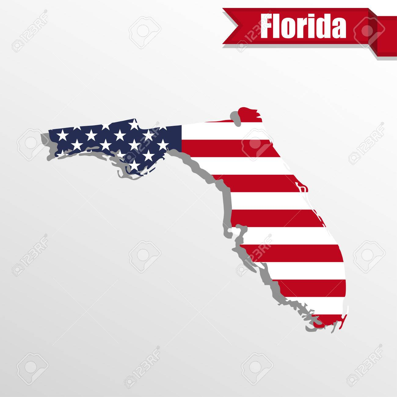 Florida State Map With Us Flag Inside And Ribbon Royalty Free