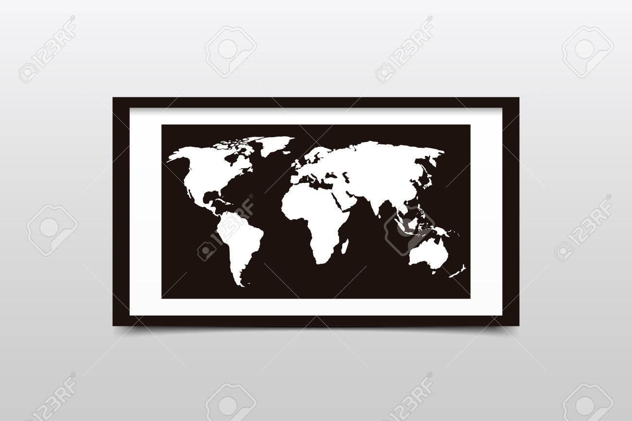 World Map On A Black Frame. Vector Illustration Royalty Free ...