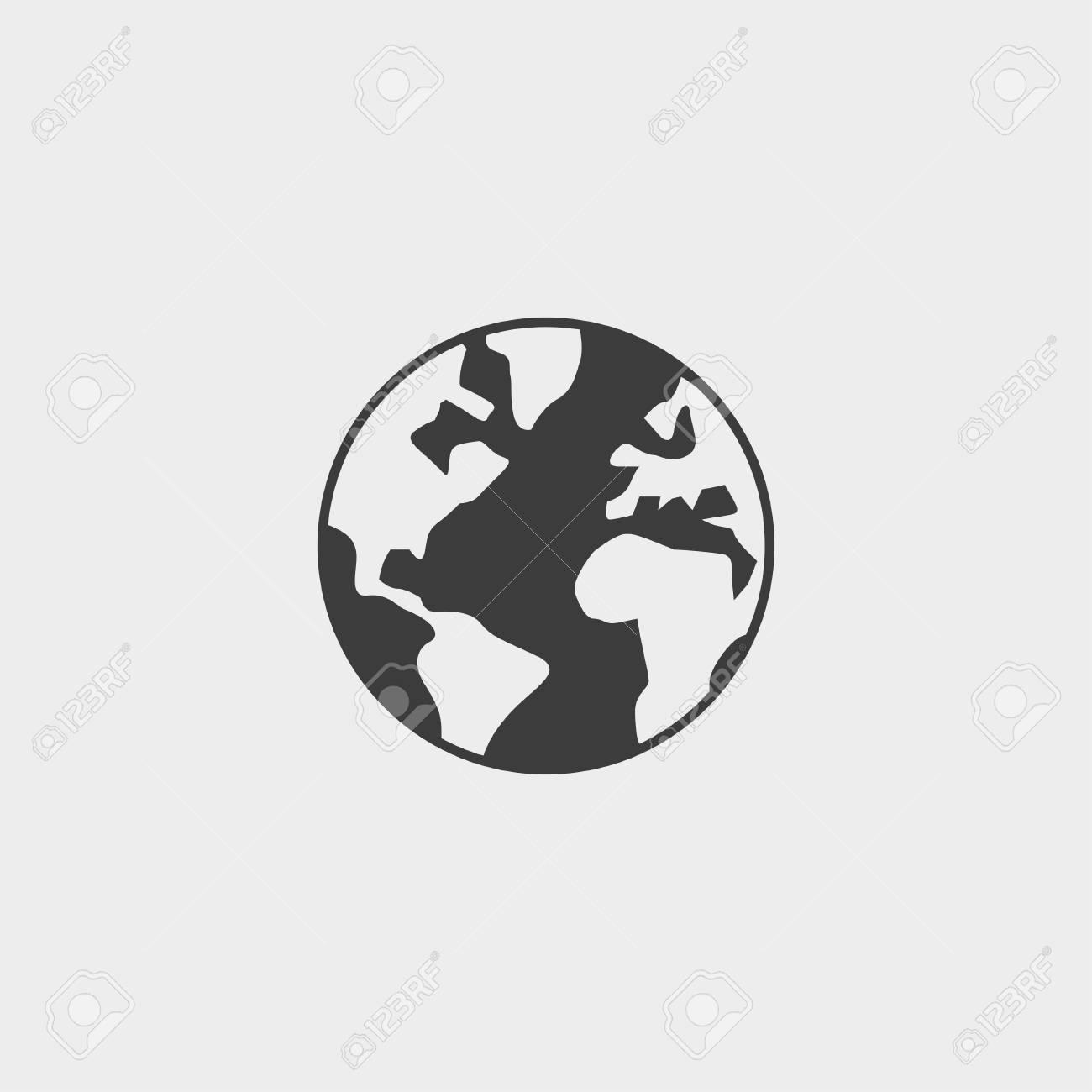 World icon in a flat design in black color. - 59438267