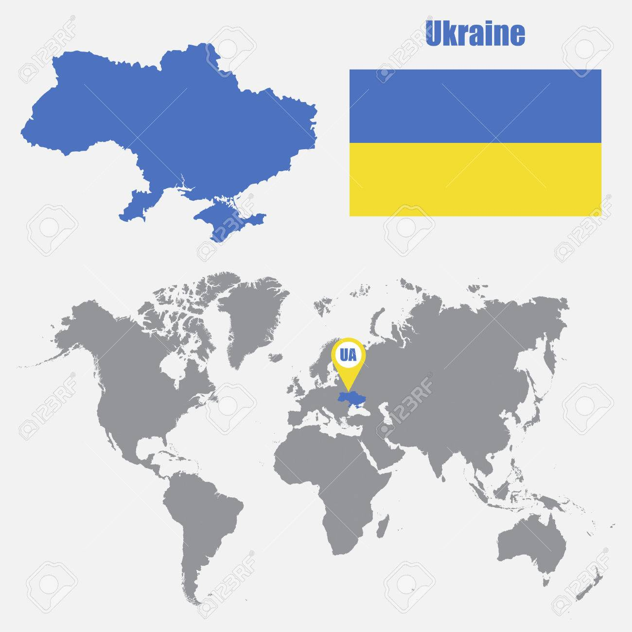 Picture of: Ukraine Map On A World Map With Flag And Map Pointer Vector Royalty Free Cliparts Vectors And Stock Illustration Image 61567229