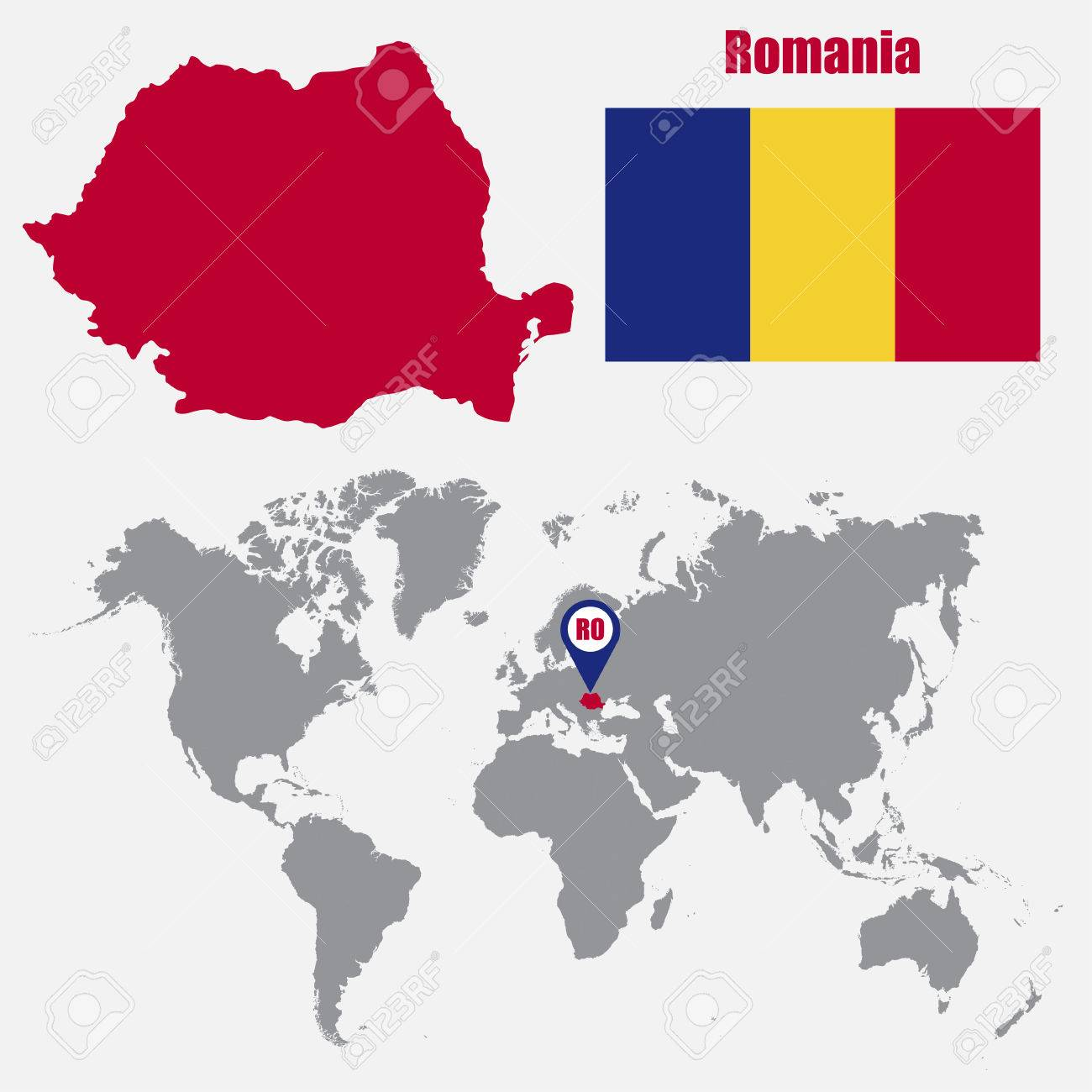 Romania Map On A World Map With Flag And Map Pointer Vector Royalty Free Cliparts Vectors And Stock Illustration Image 61567254