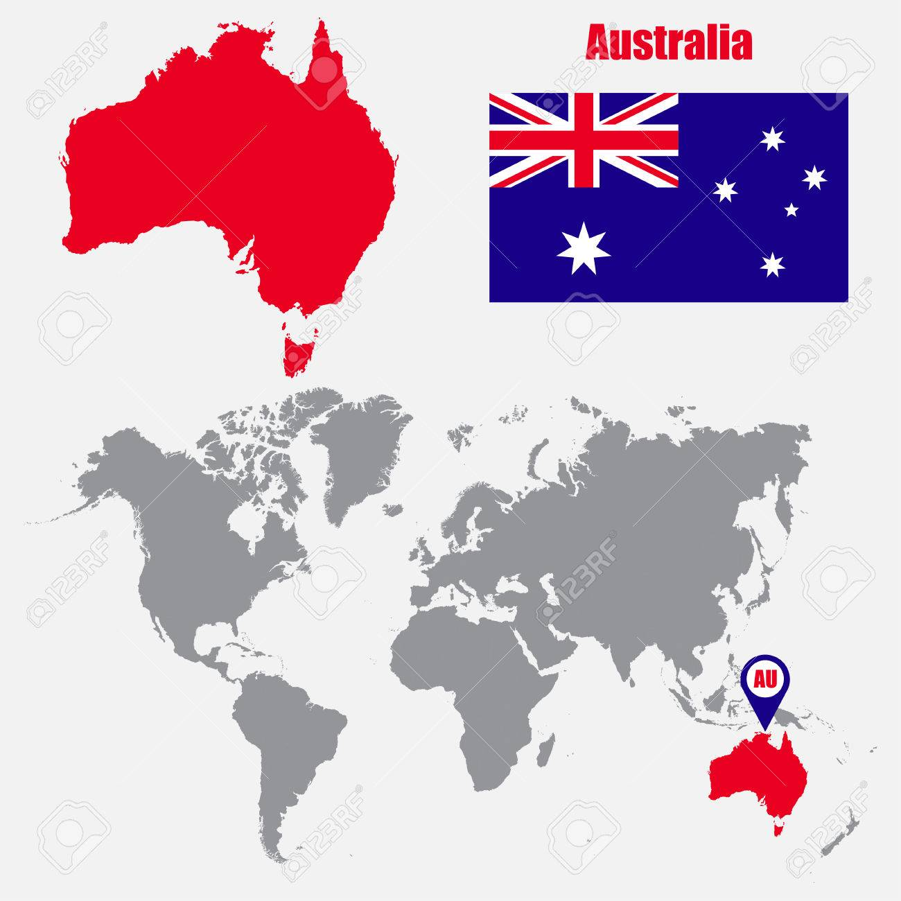 Australia Map In World.Australia Map On A World Map With Flag And Map Pointer Vector