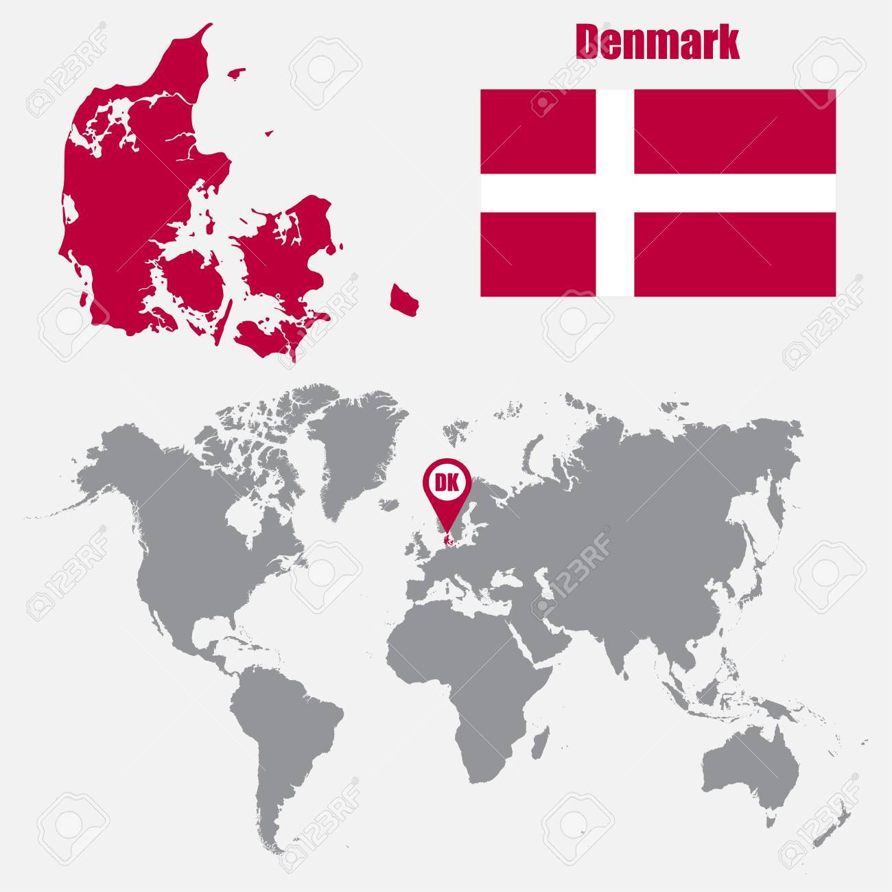 Denmark map on a world map with flag and map pointer vector denmark map on a world map with flag and map pointer vector illustration stock vector gumiabroncs Gallery