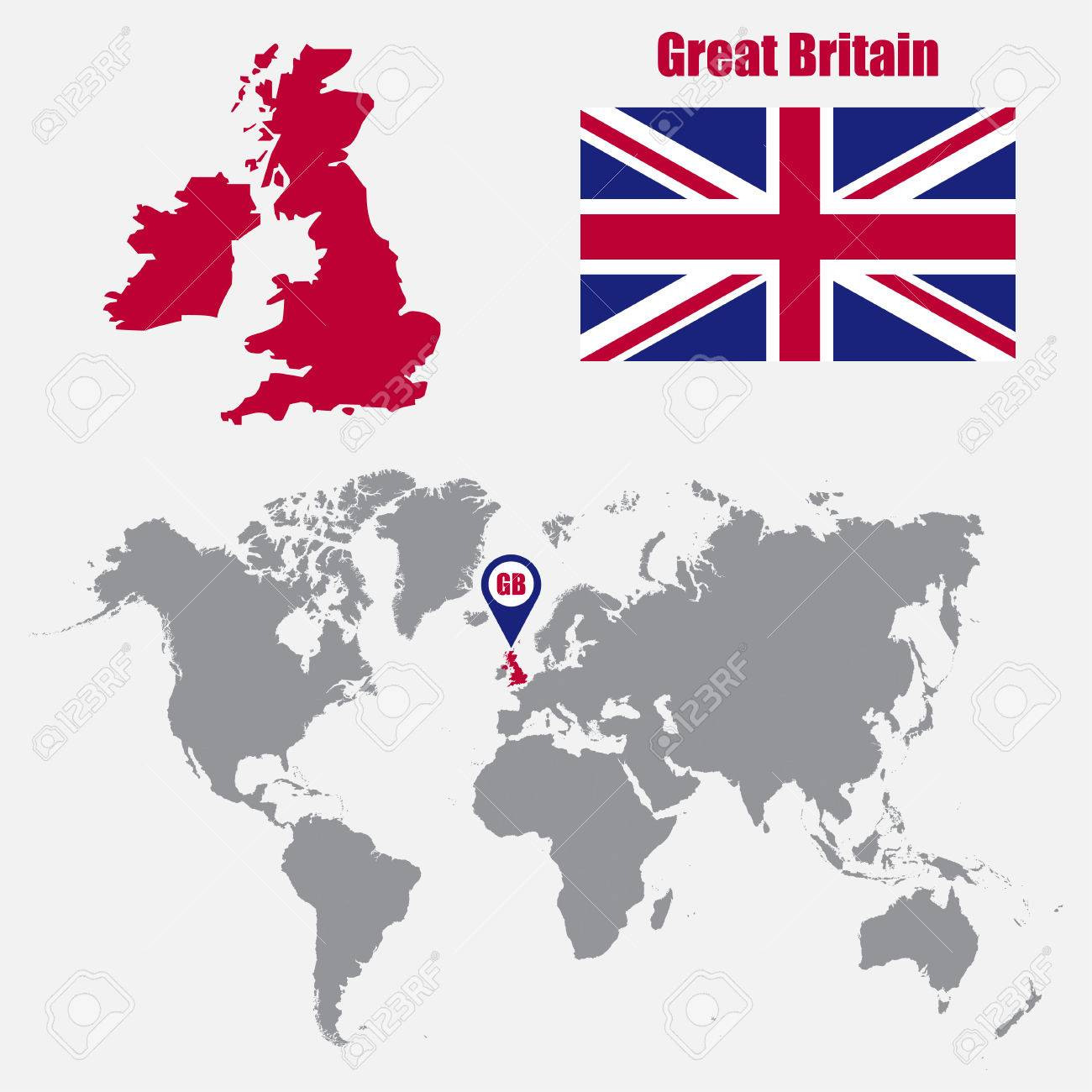 Uk In Map Of World.Uk Map On A World Map With Flag And Map Pointer Vector Illustration