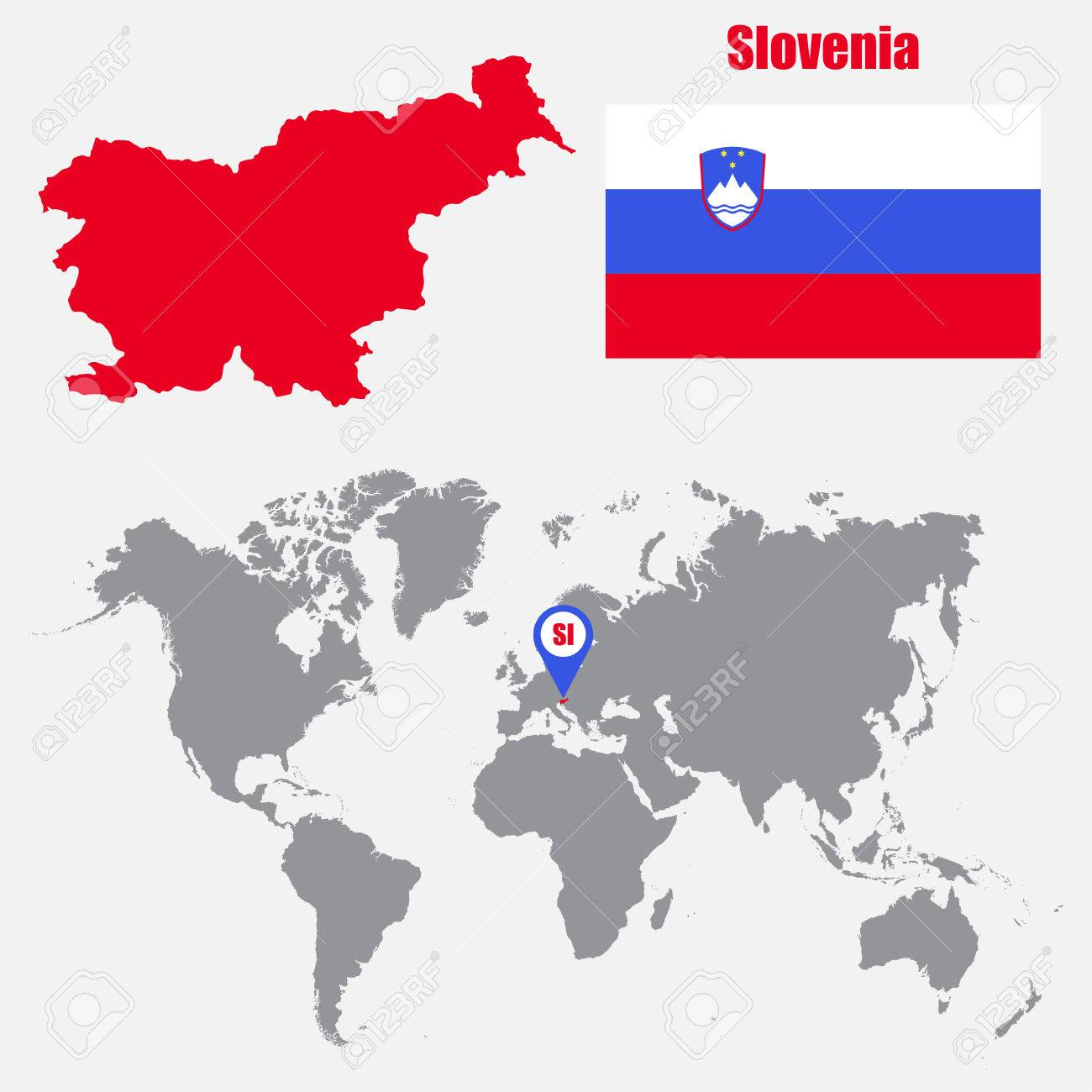 Picture of: Slovenia Map On A World Map With Flag And Map Pointer Vector Royalty Free Cliparts Vectors And Stock Illustration Image 61567288