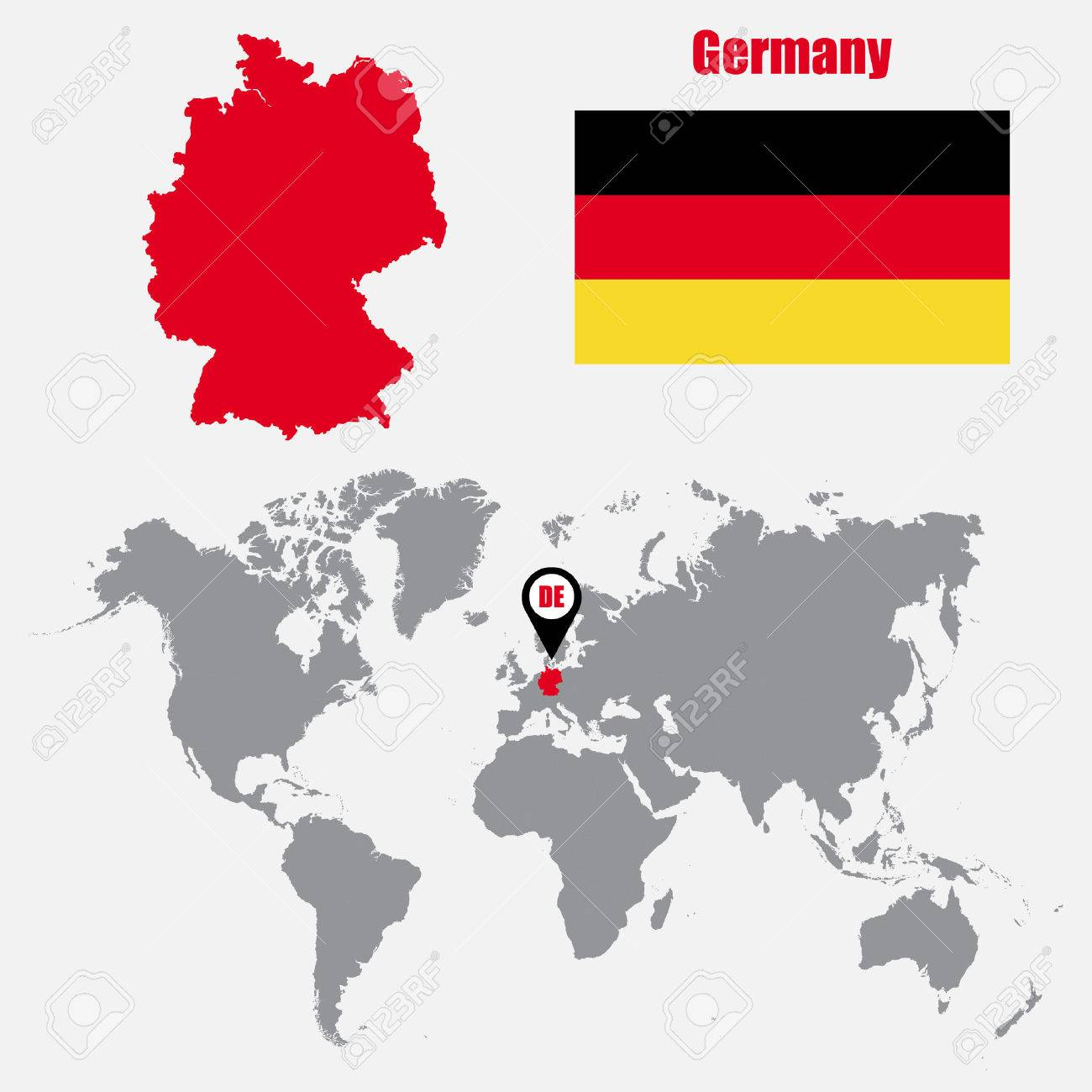 Germany map on a world map with flag and map pointer vector germany map on a world map with flag and map pointer vector illustration stock vector gumiabroncs