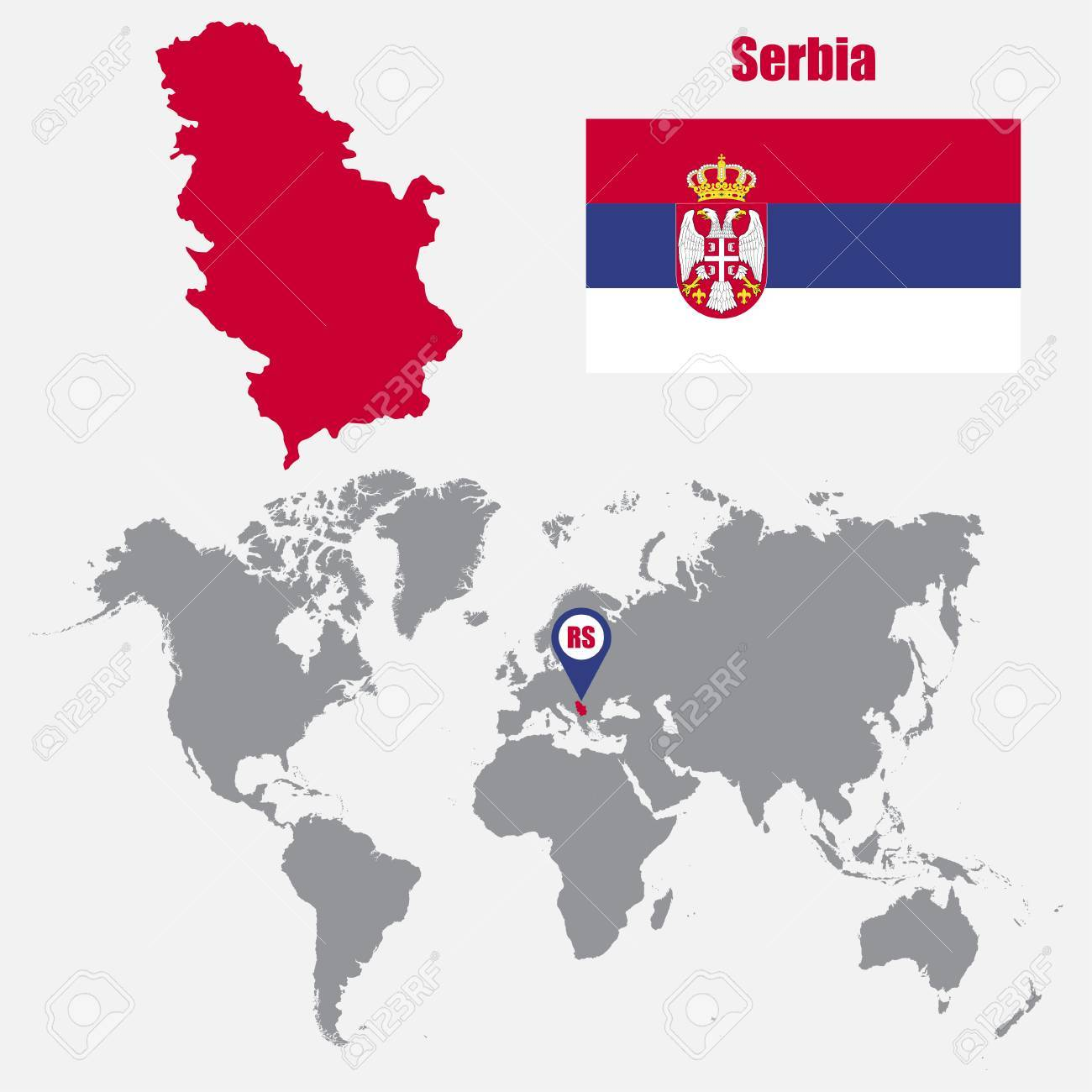 Picture of: Serbia Map On A World Map With Flag And Map Pointer Vector Illustration Royalty Free Cliparts Vectors And Stock Illustration Image 61567408
