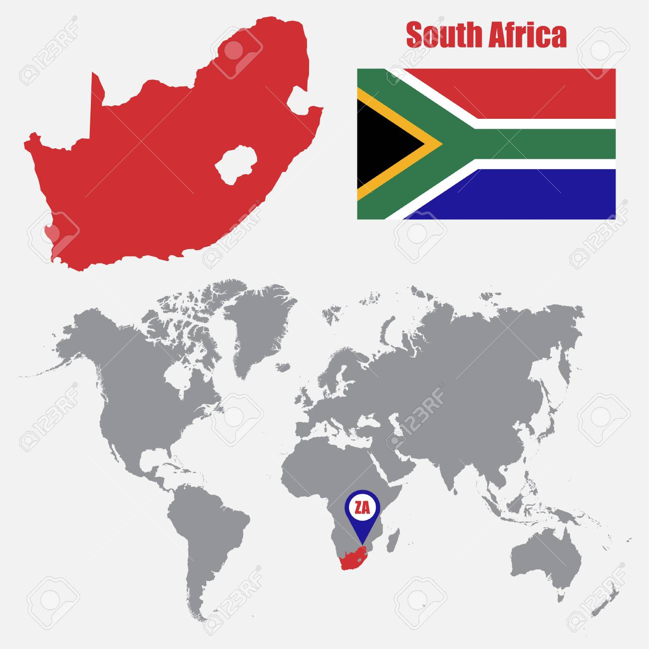 South Africa Map On A World Map With Flag And Map Pointer Vector Royalty Free Cliparts Vectors And Stock Illustration Image 61567414