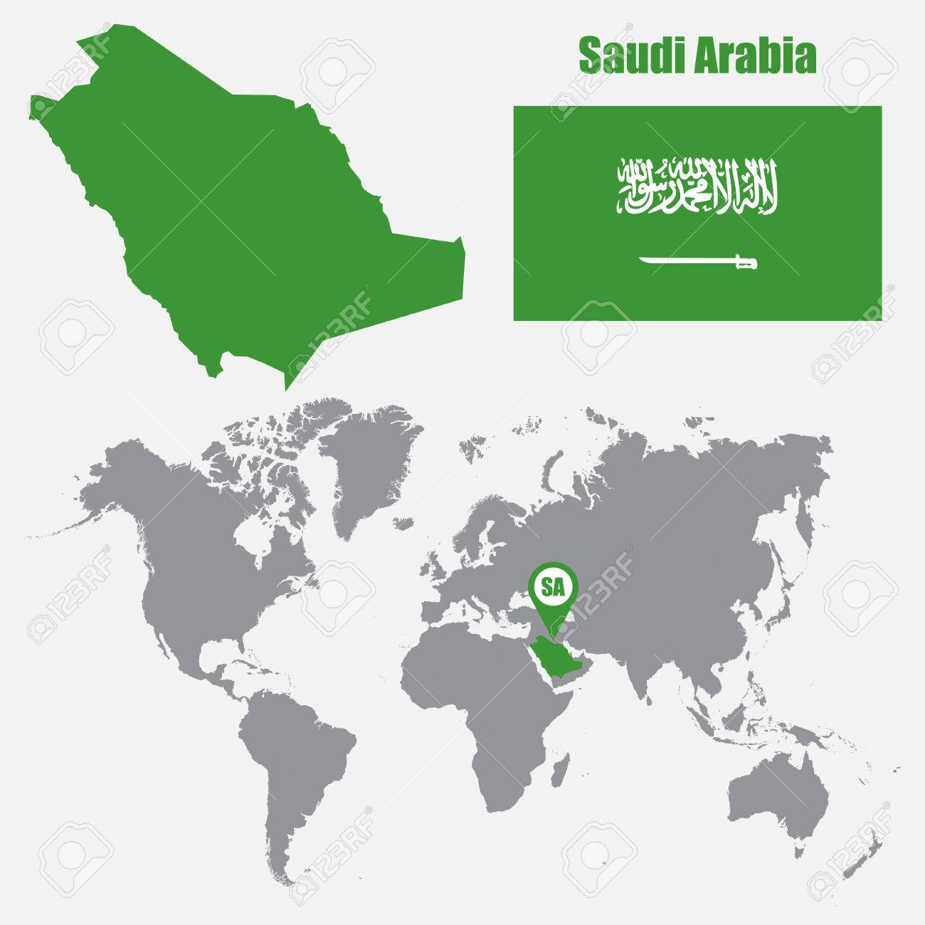 Saudi Arabia Map On A World Map With Flag And Map Pointer Vector