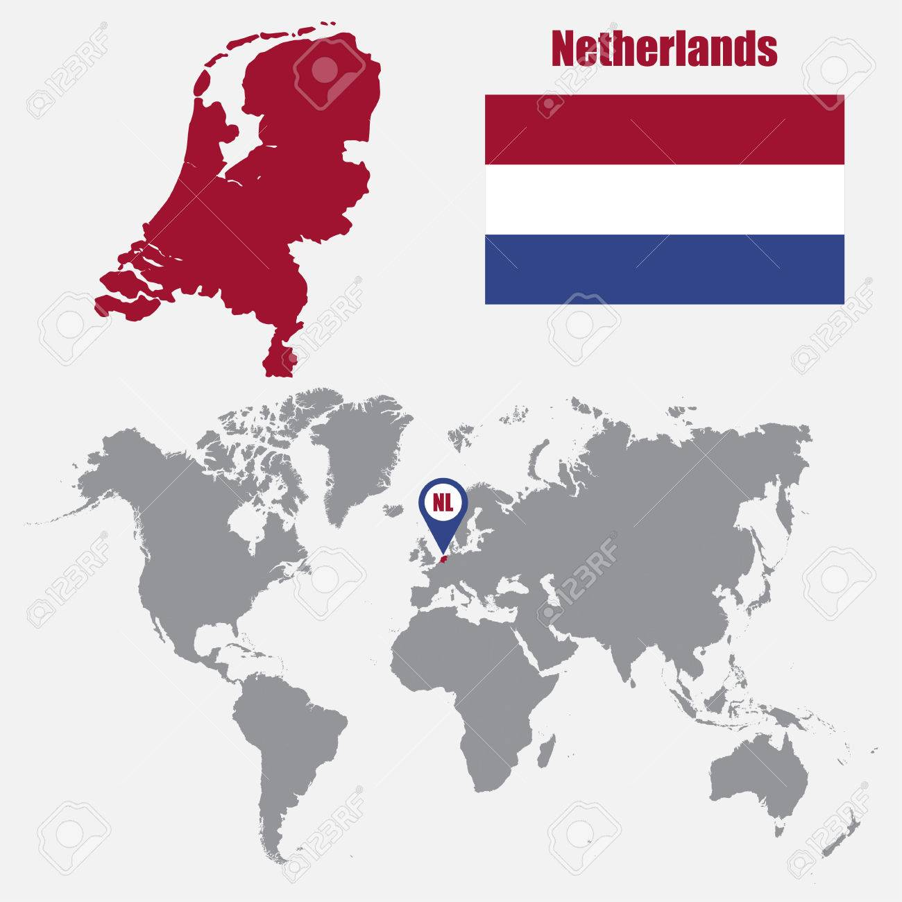 Netherlands map on a world map with flag and map pointer. Vector..
