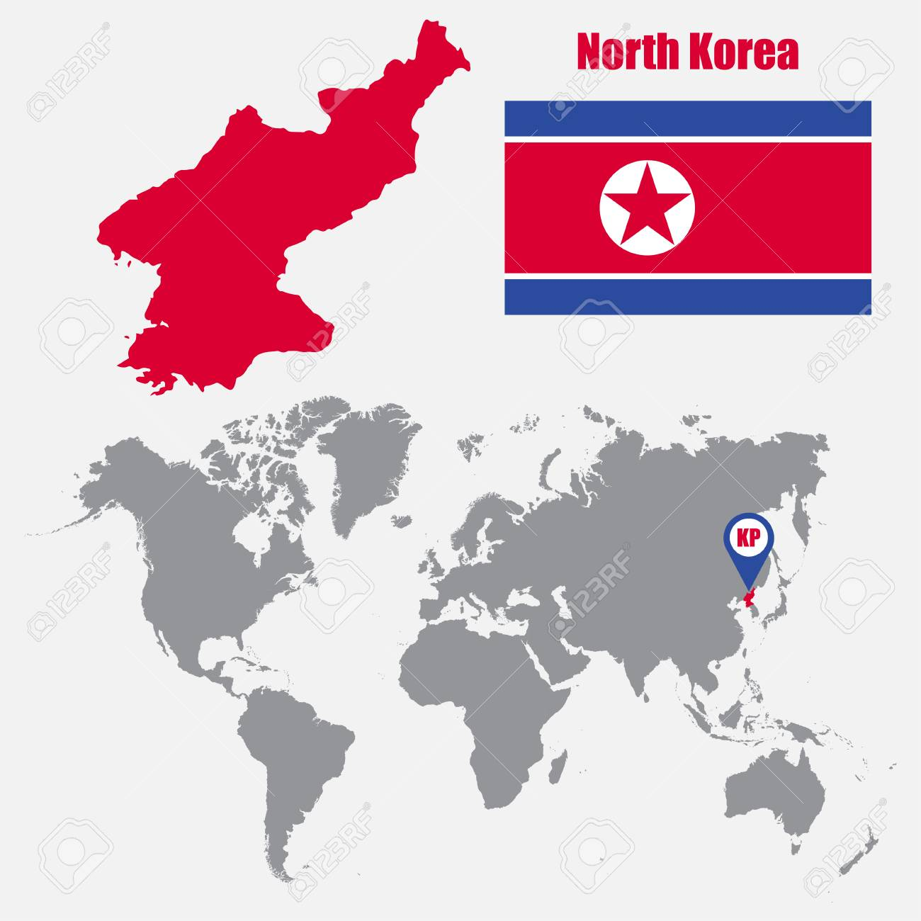 North Korea Map On A World Map With Flag And Map Pointer. Vector  Illustration Stock