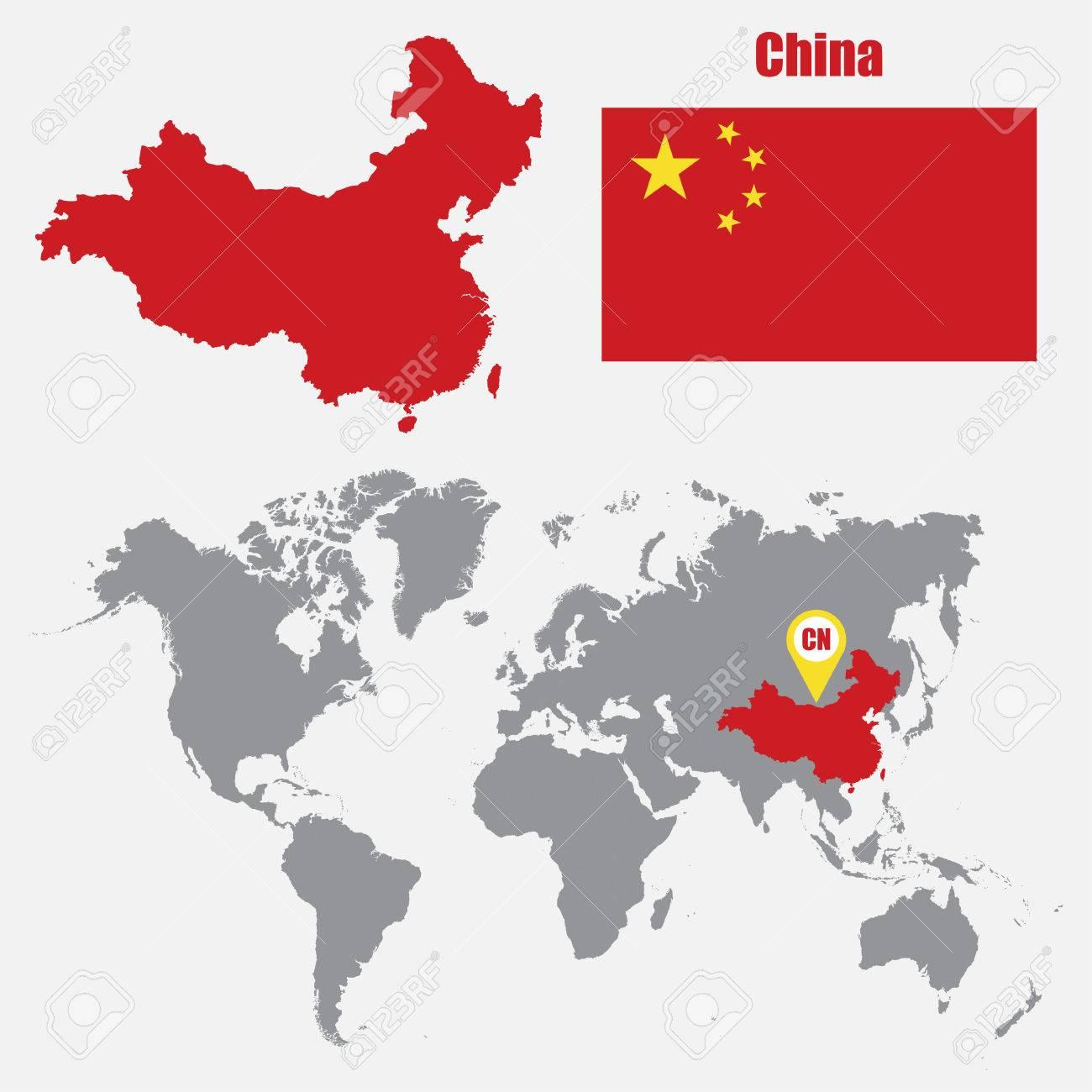 Mapa Del Mundo China.China Mapa En Un Mapa Del Mundo Con La Bandera Y El Puntero Del Mapa Ilustracion Vectorial Ilustraciones Vectoriales Clip Art Vectorizado Libre De Derechos Image 61567640