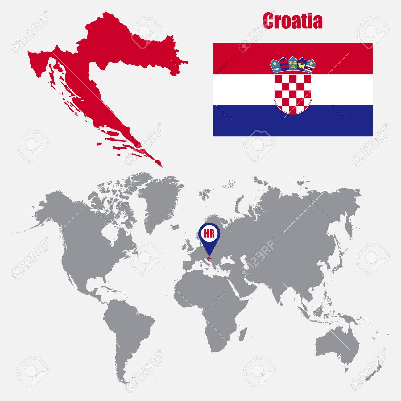 Croatia map on a world map with flag and map pointer vector croatia map on a world map with flag and map pointer vector illustration stock vector gumiabroncs Images