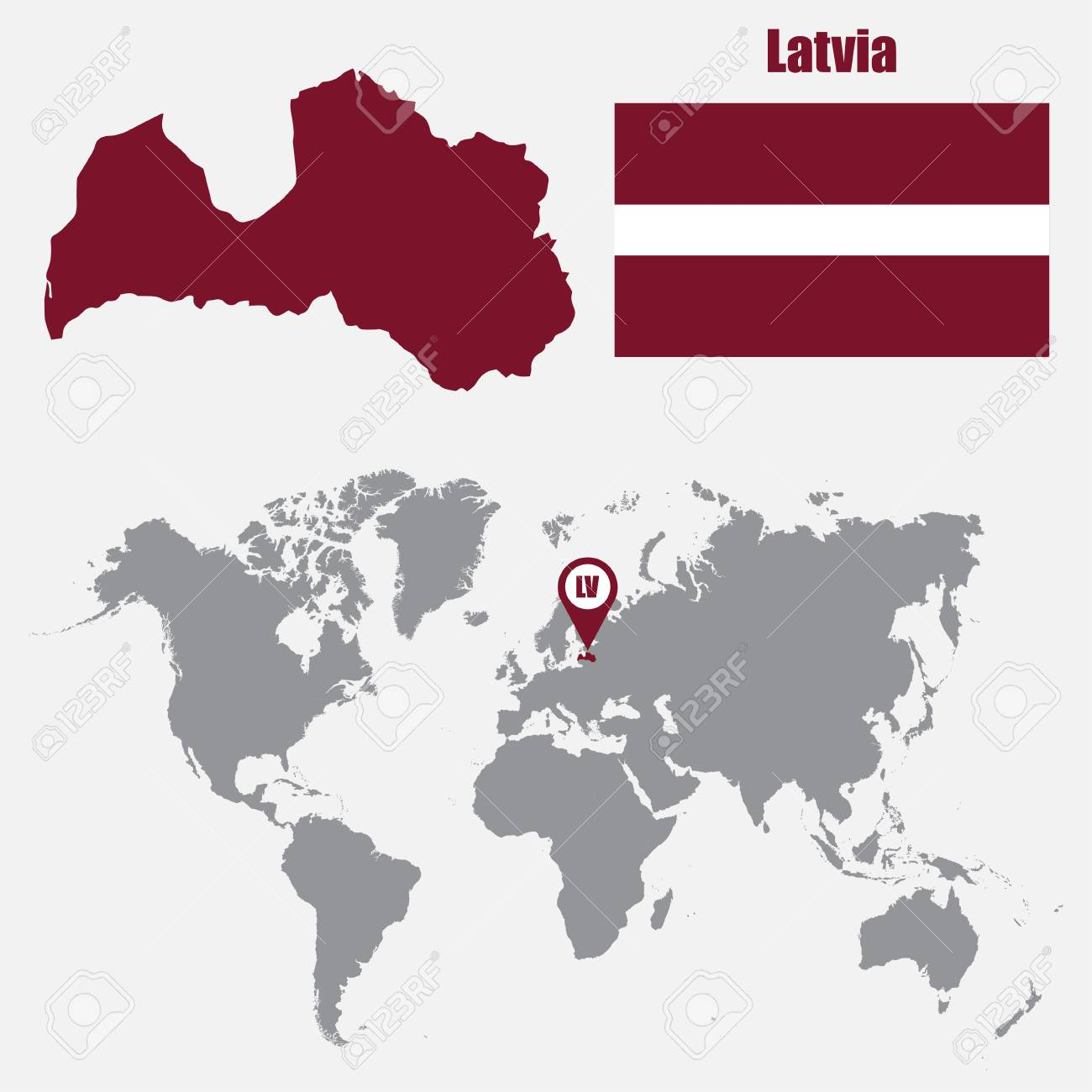 Latvia map on a world map with flag and map pointer vector latvia map on a world map with flag and map pointer vector illustration stock vector gumiabroncs Images