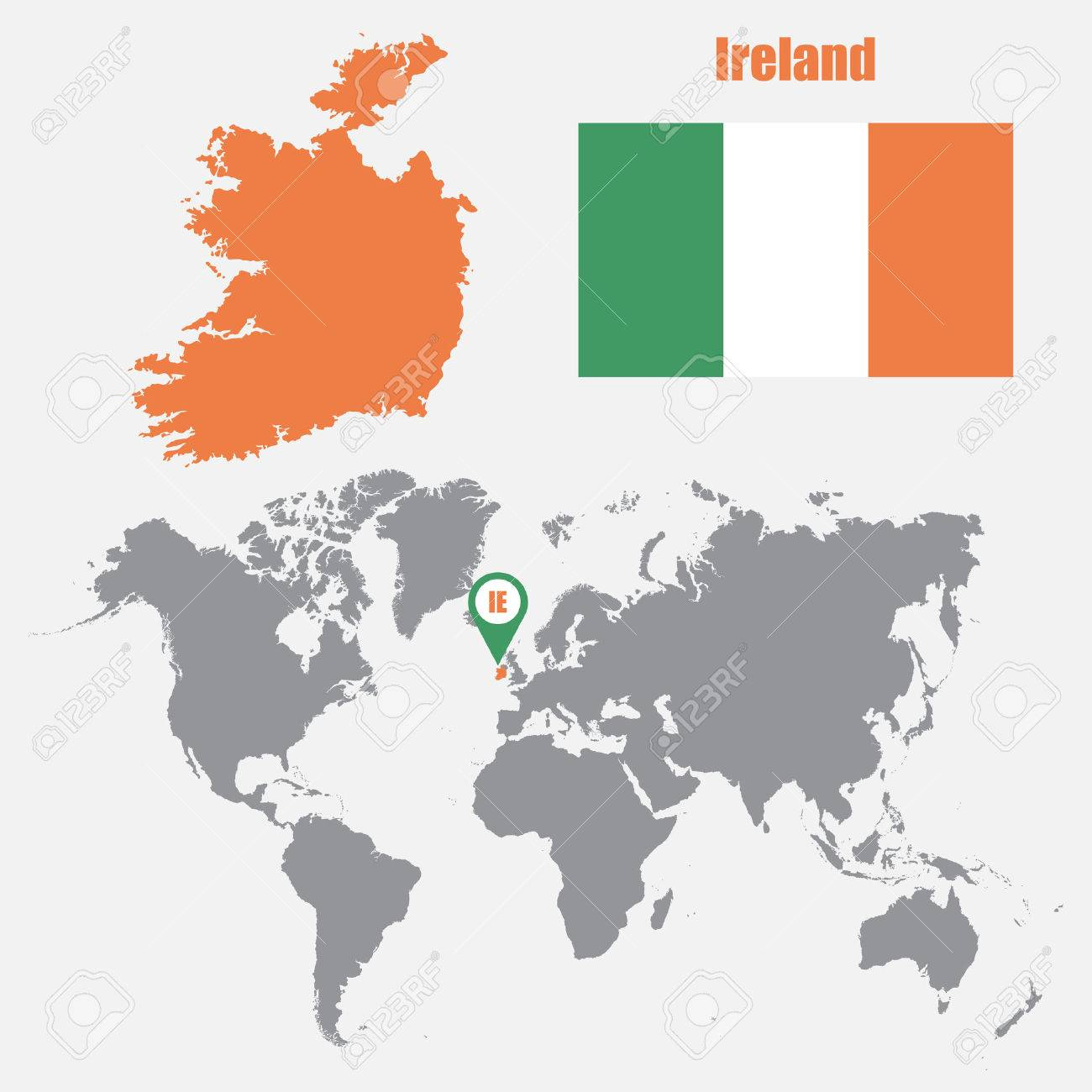 World Map Of Ireland.Ireland Map On A World Map With Flag And Map Pointer Vector