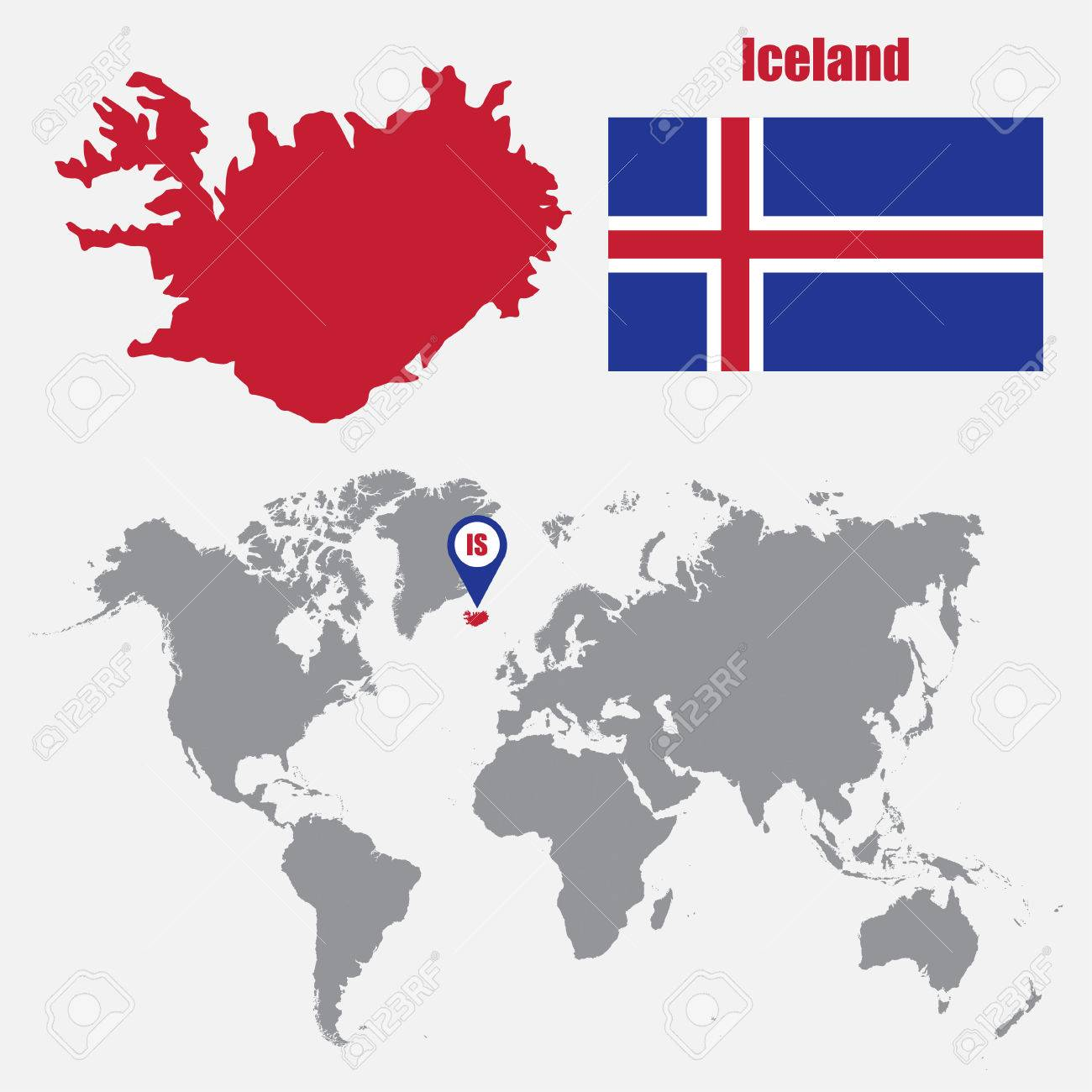Iceland Map On A World Map With Flag And Map Pointer Vector - Iceland map world