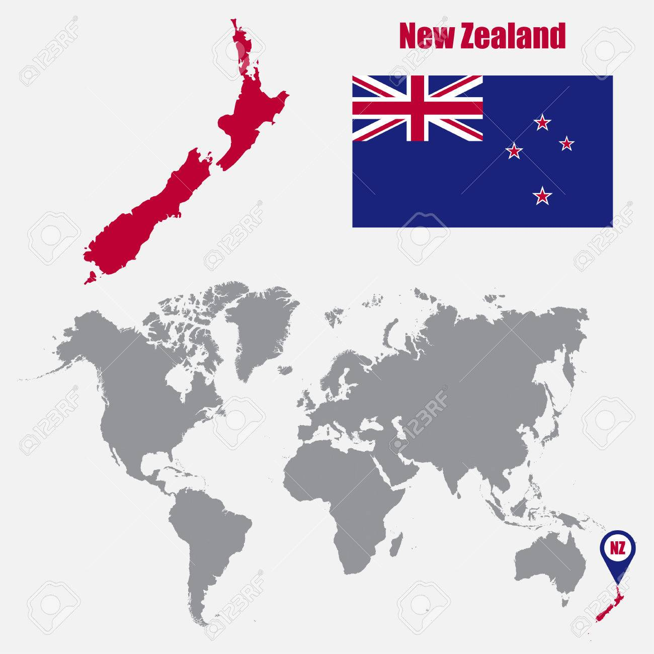 New Zealand Map On World.New Zealand Map On A World Map With Flag And Map Pointer Vector