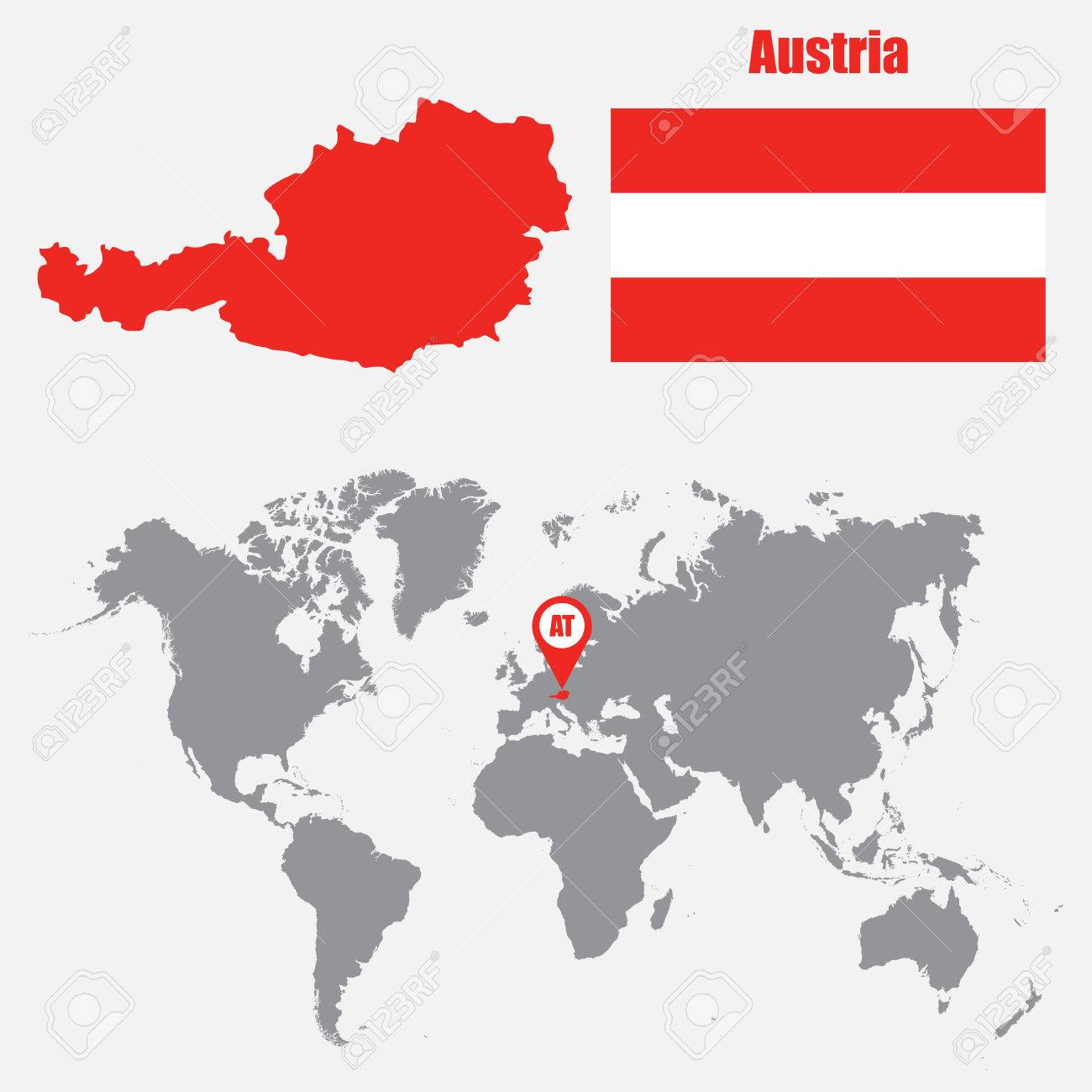 Austria map on a world map with flag and map pointer. Vector..