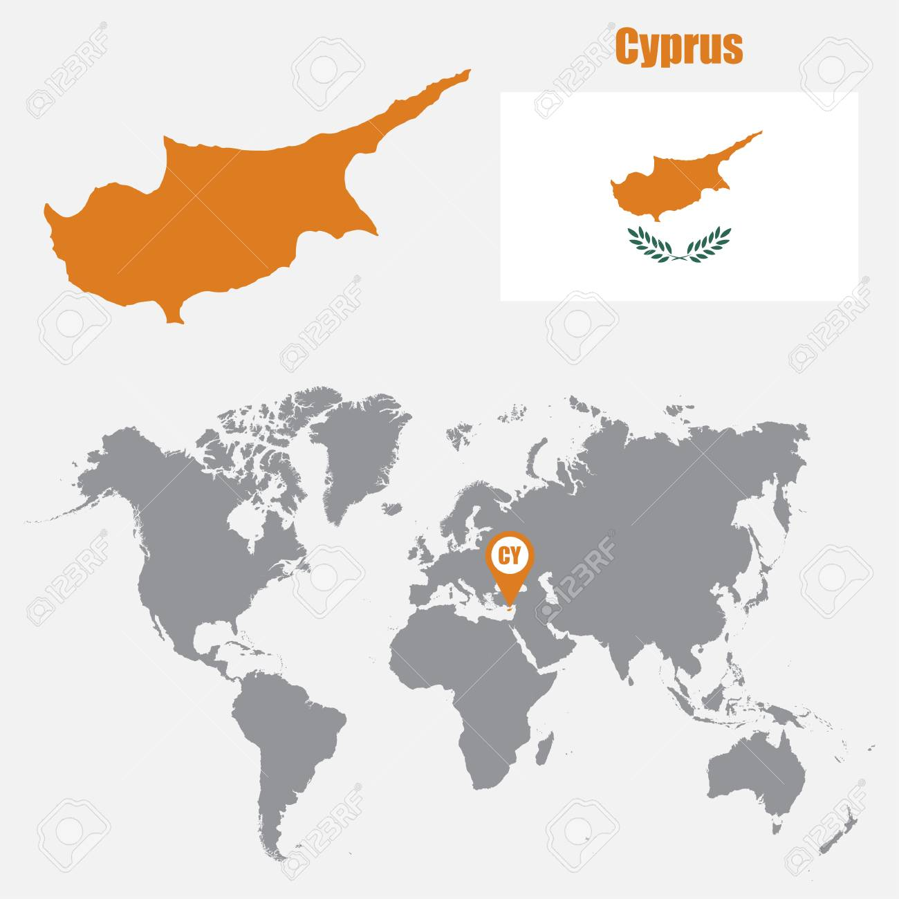 Cyprus map on a world map with flag and map pointer vector cyprus map on a world map with flag and map pointer vector illustration stock vector gumiabroncs Choice Image