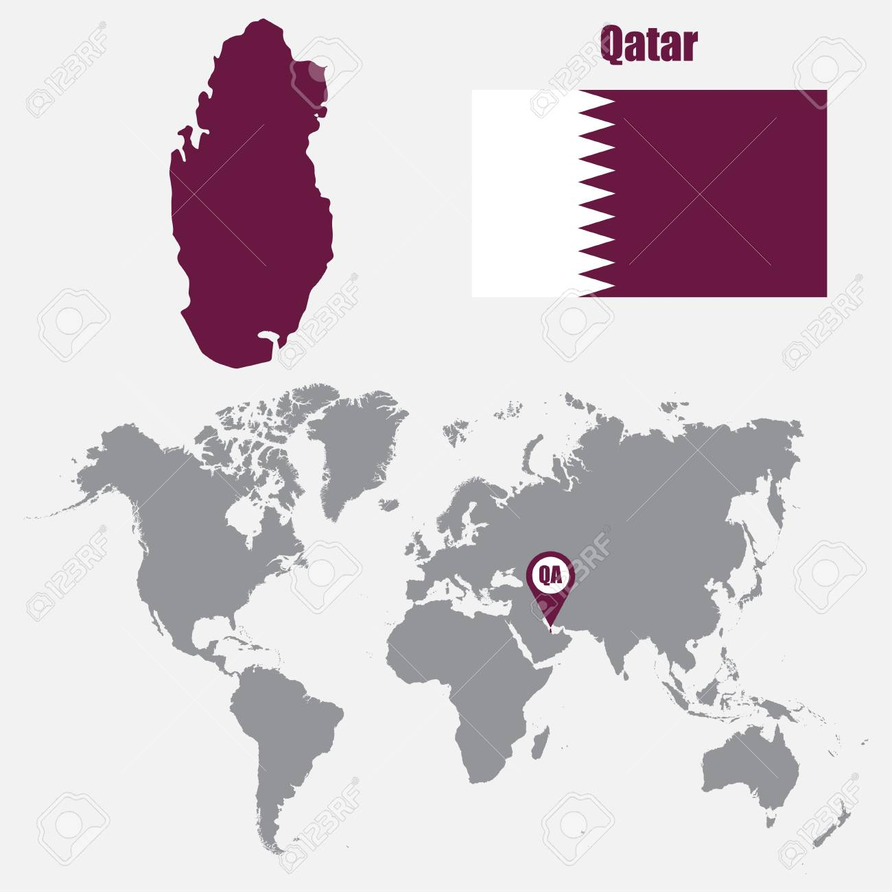 Qatar map on a world map with flag and map pointer. Vector illustration