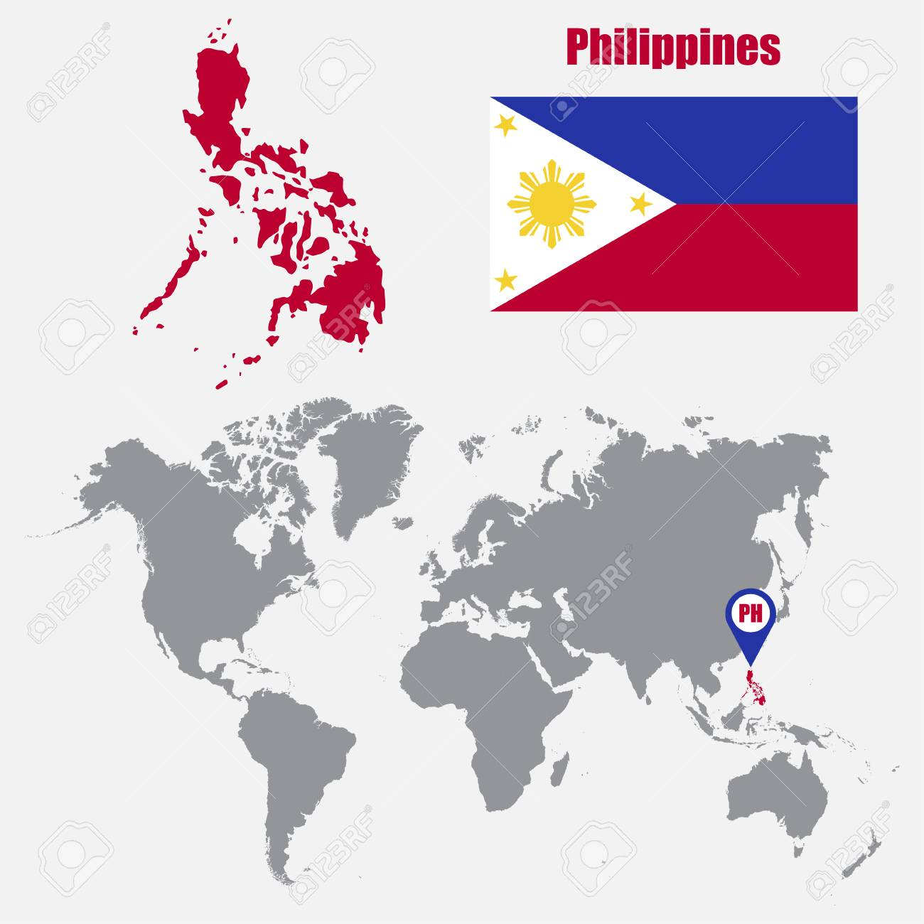 Philippines Map On A World Map With Flag And Map Pointer. Vector