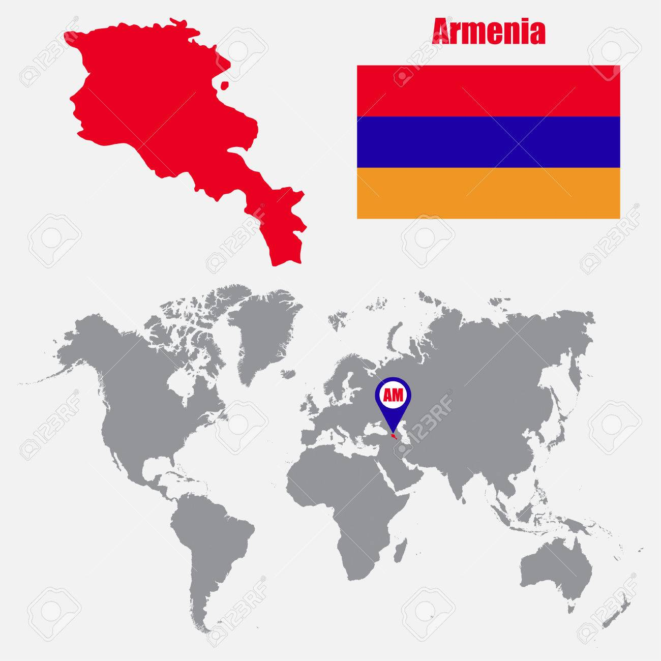 Armenia Map On A World Map With Flag And Map Pointer Vector