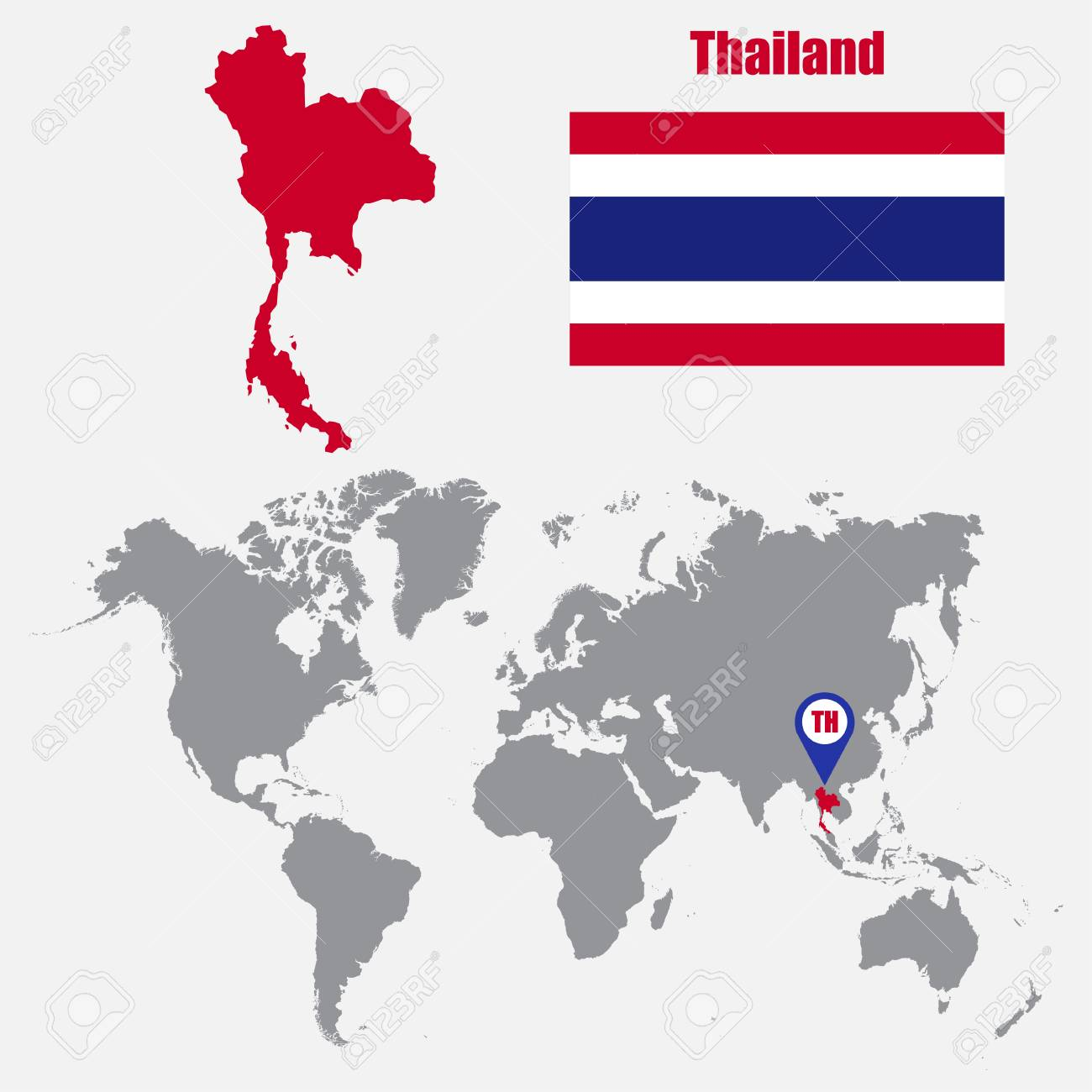 Thailand map on a world map with flag and map pointer. Vector..