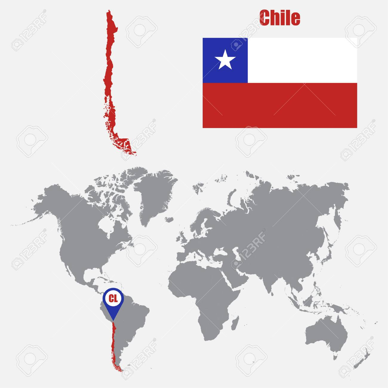 Chile Map On A World Map With Flag And Map Pointer Vector