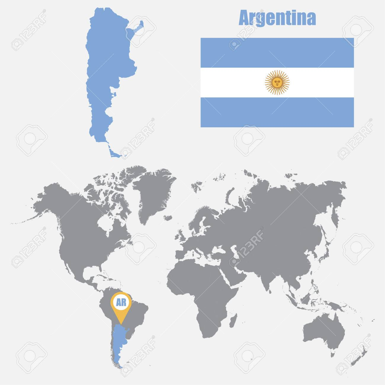 Argentina map on a world map with flag and map pointer. Vector..